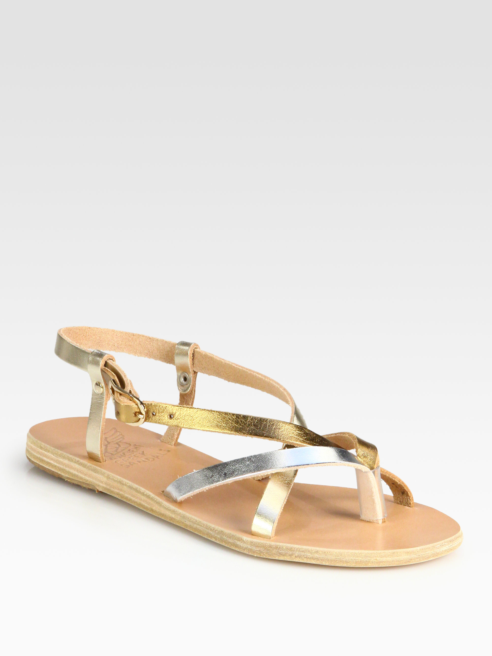 Ancient Greek Sandals Semele Metallic Leather Sandals In