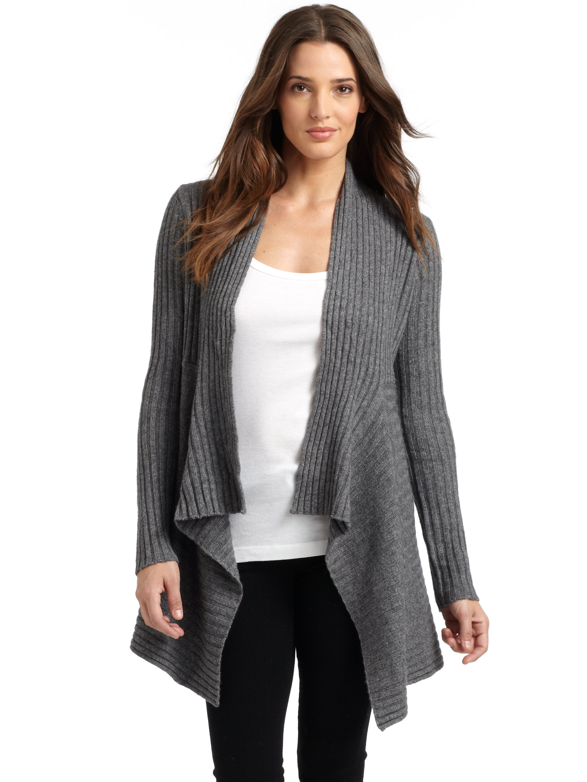 w gray lightweight cardigan sweater knit draped ld long drapes womens top products