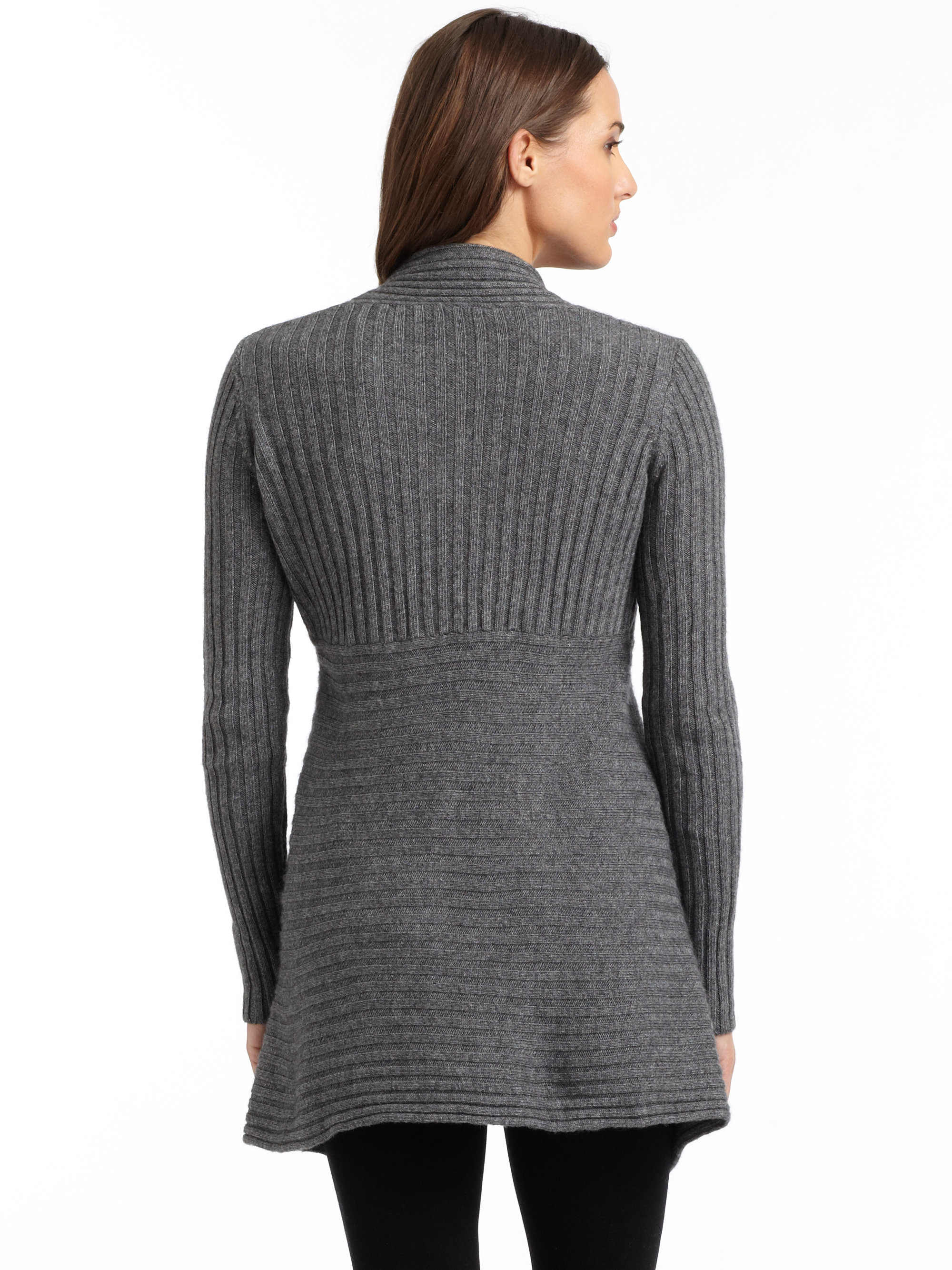Autumn cashmere New Rib Draped Cardigan in Gray | Lyst