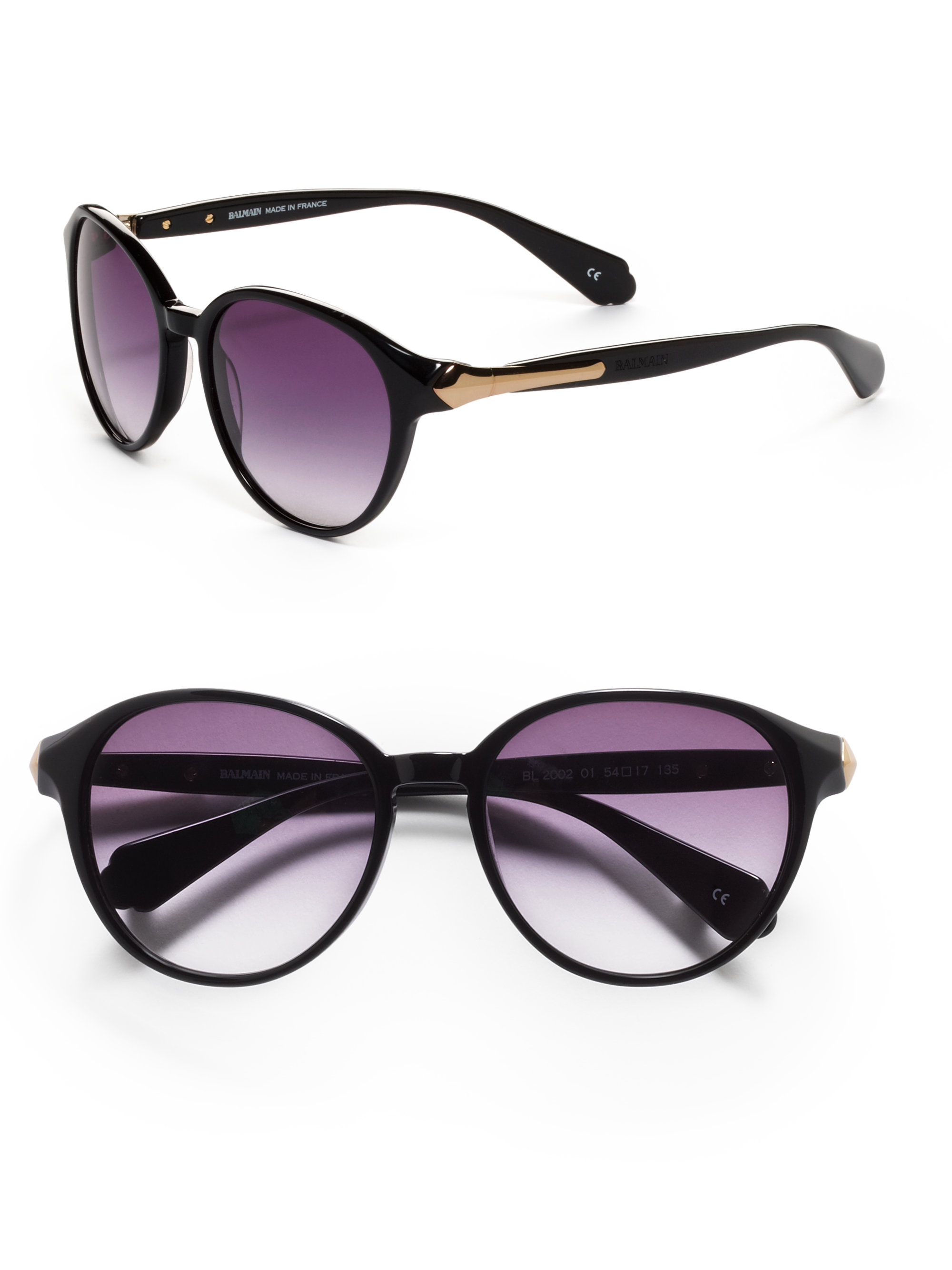 f05b8c872 Balmain Round Baroque Acetate Sunglassesblack in Black - Lyst