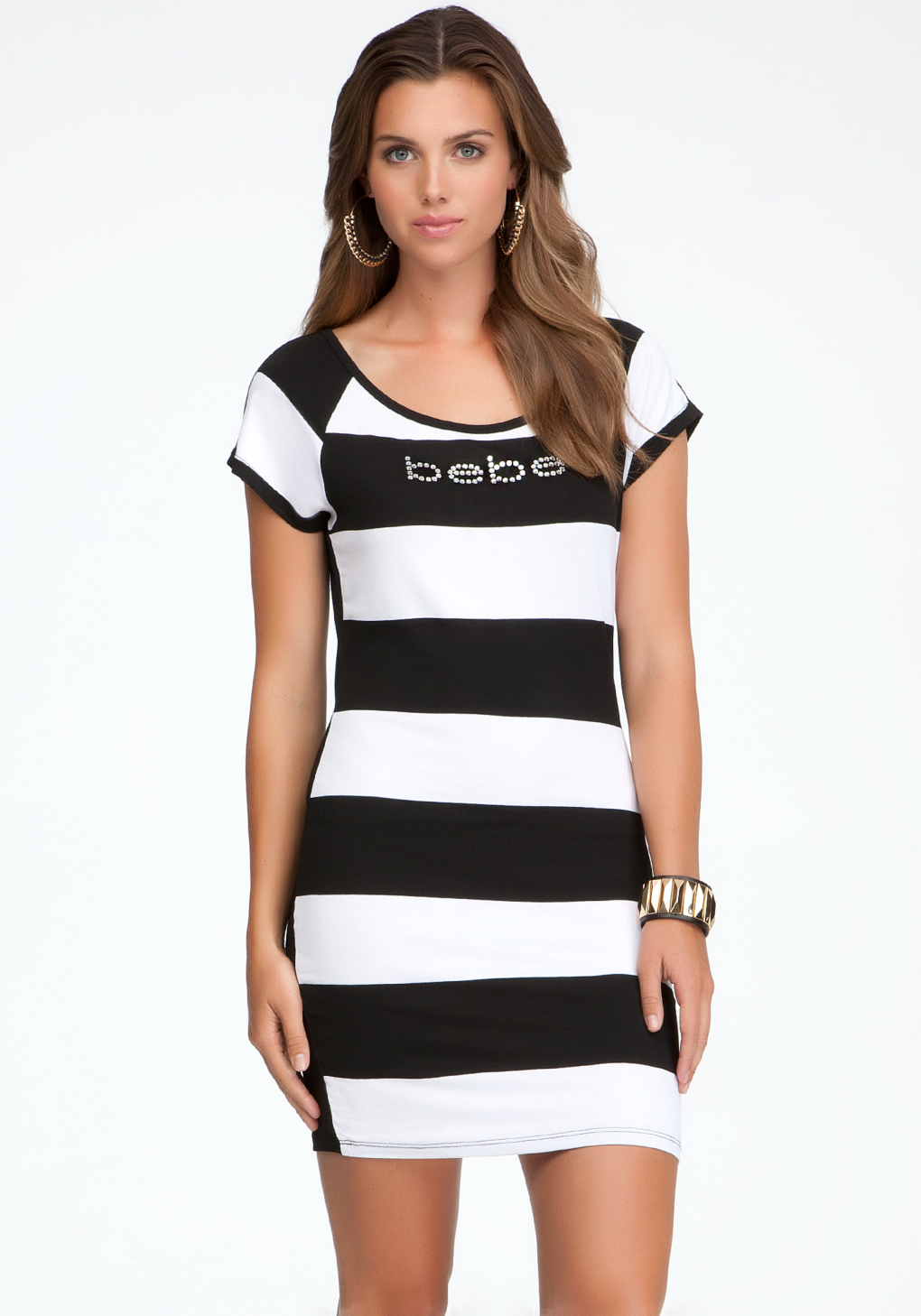 Bebe Logo Rugby Stripe Tee Dress In White Black Lyst