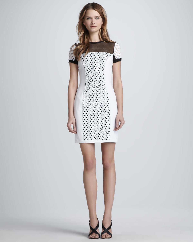 Lyst - Black Halo Vanessa Mini Crochet Lace Dress in White