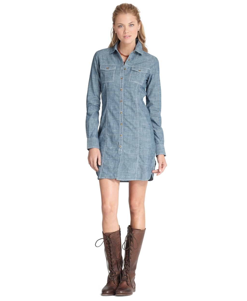 Brooks Brothers Chambray Shirt Dress In Blue Lyst