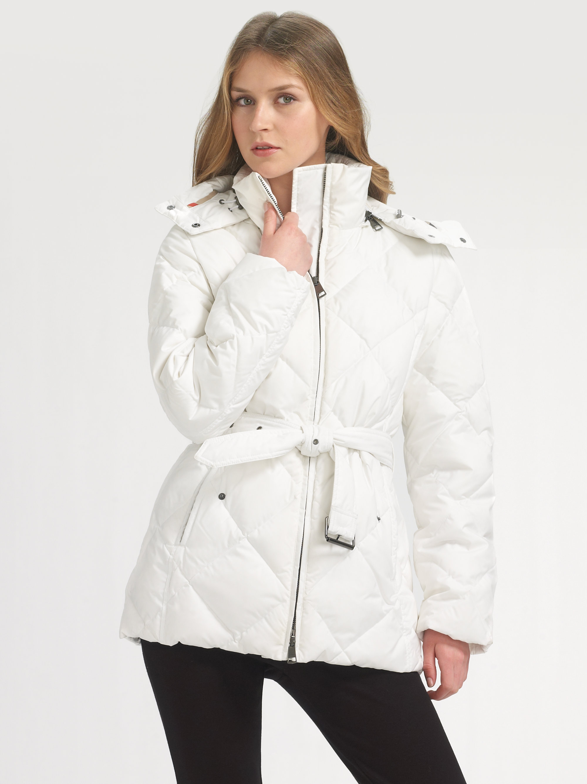 Burberry Brit Down Puffer Jacket In Black White Lyst