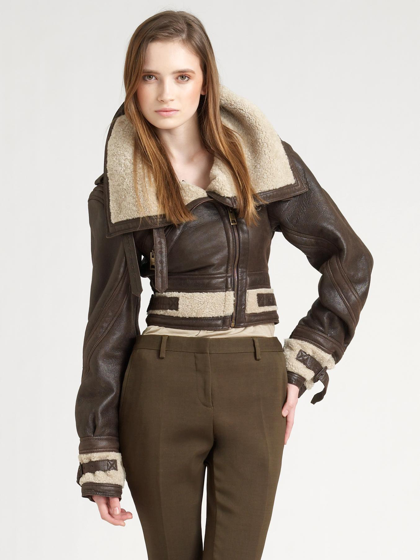 Burberry prorsum Shearling Aviator Jacket in Brown | Lyst