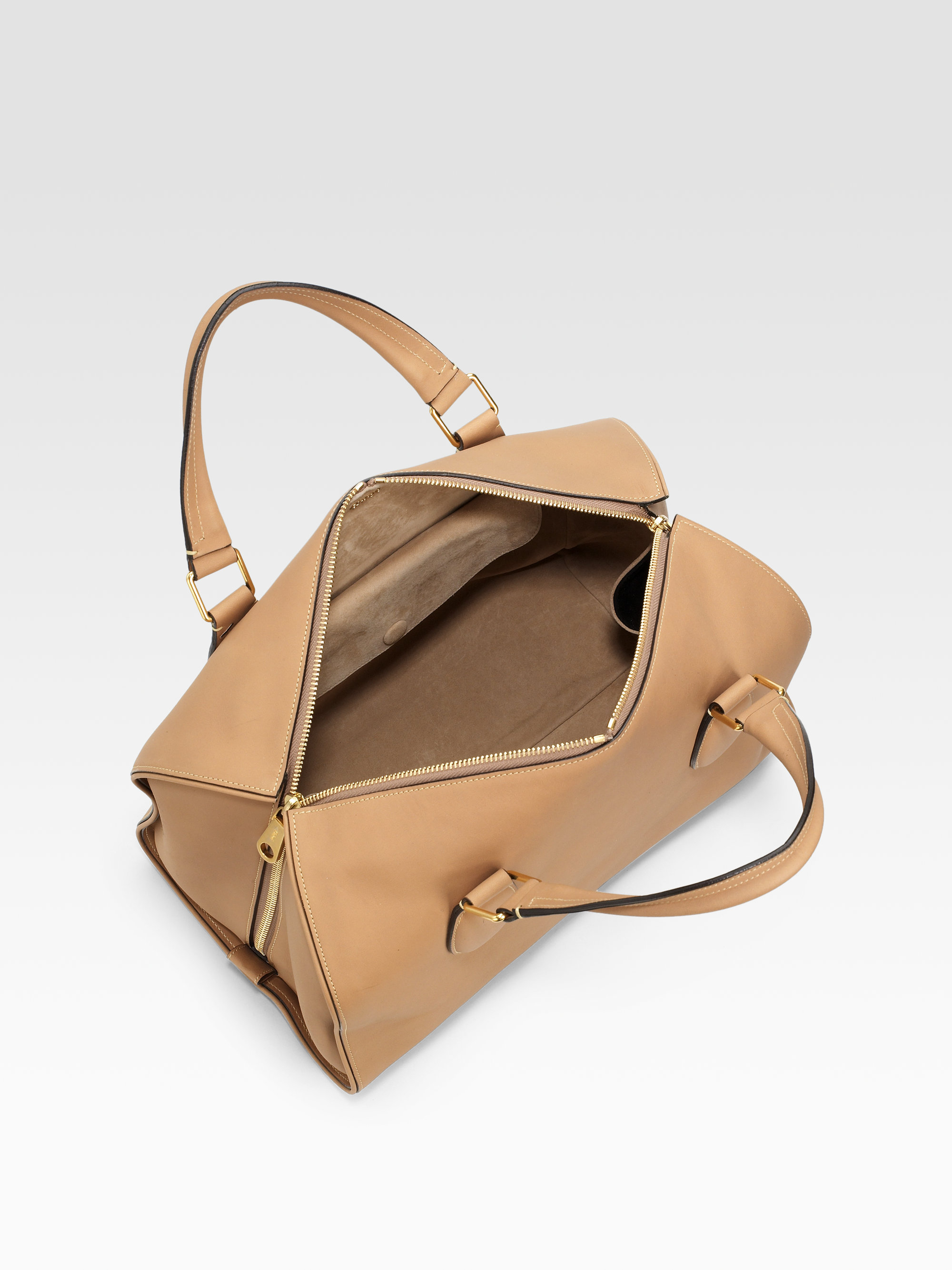Chlo�� Aurore Top Handle Bag in Beige (wood) | Lyst