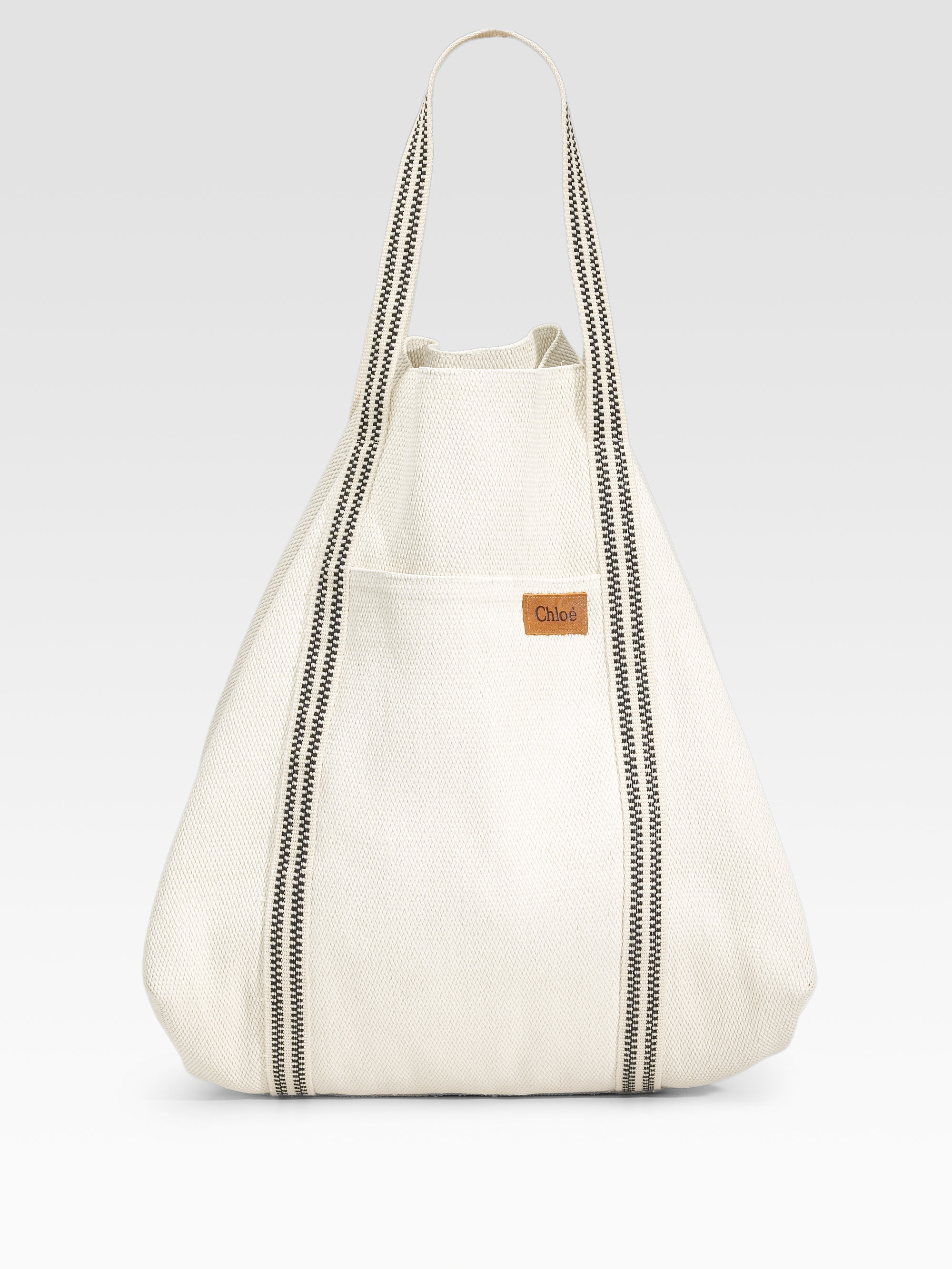 Chloé Striped Canvas Beach Tote in White | Lyst
