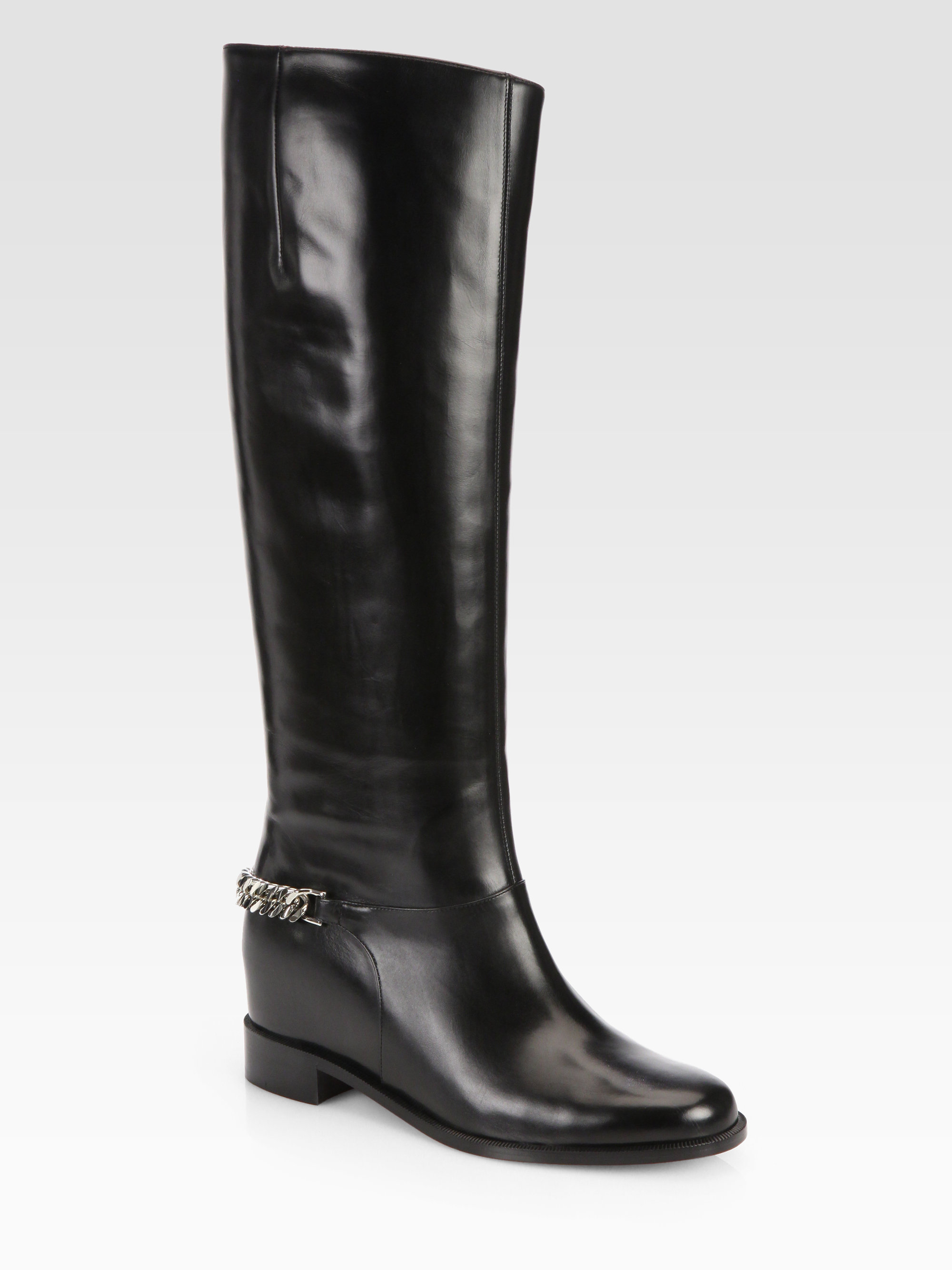 christian louboutin knee-high chain-link boots