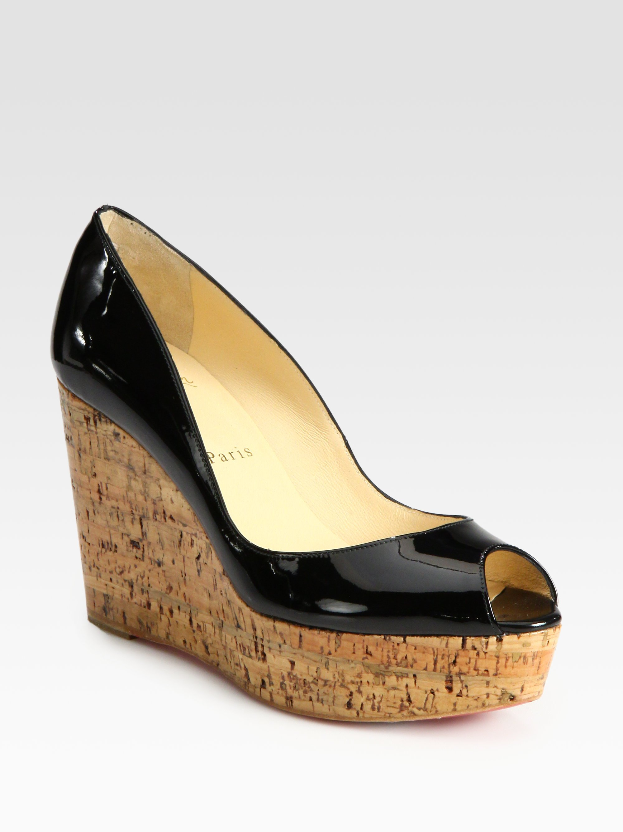 c8e503612dd8 get lyst christian louboutin patent leather cork wedge pumps in black 2e709  5bca1