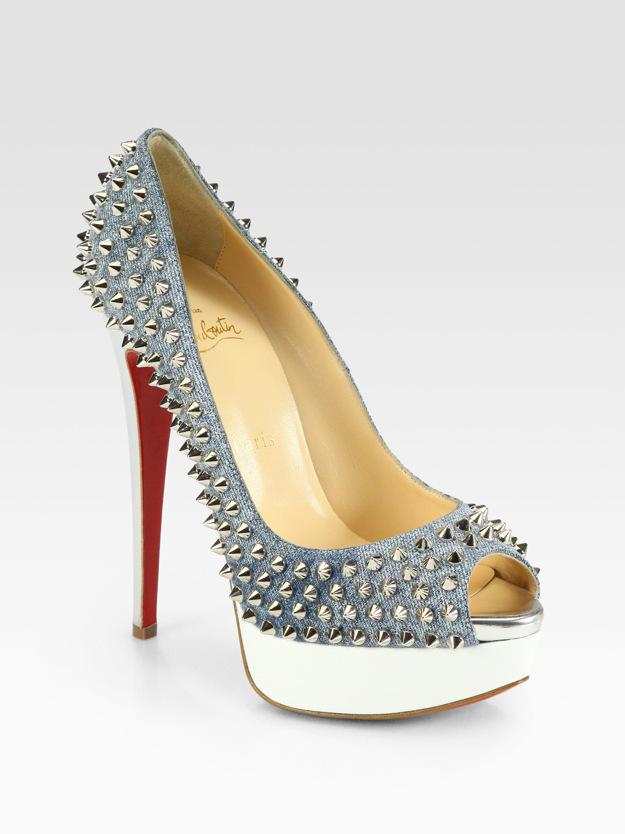 new product 5f0b0 26d31 Christian Louboutin Blue Lady Spiked Denim Platform Pumps