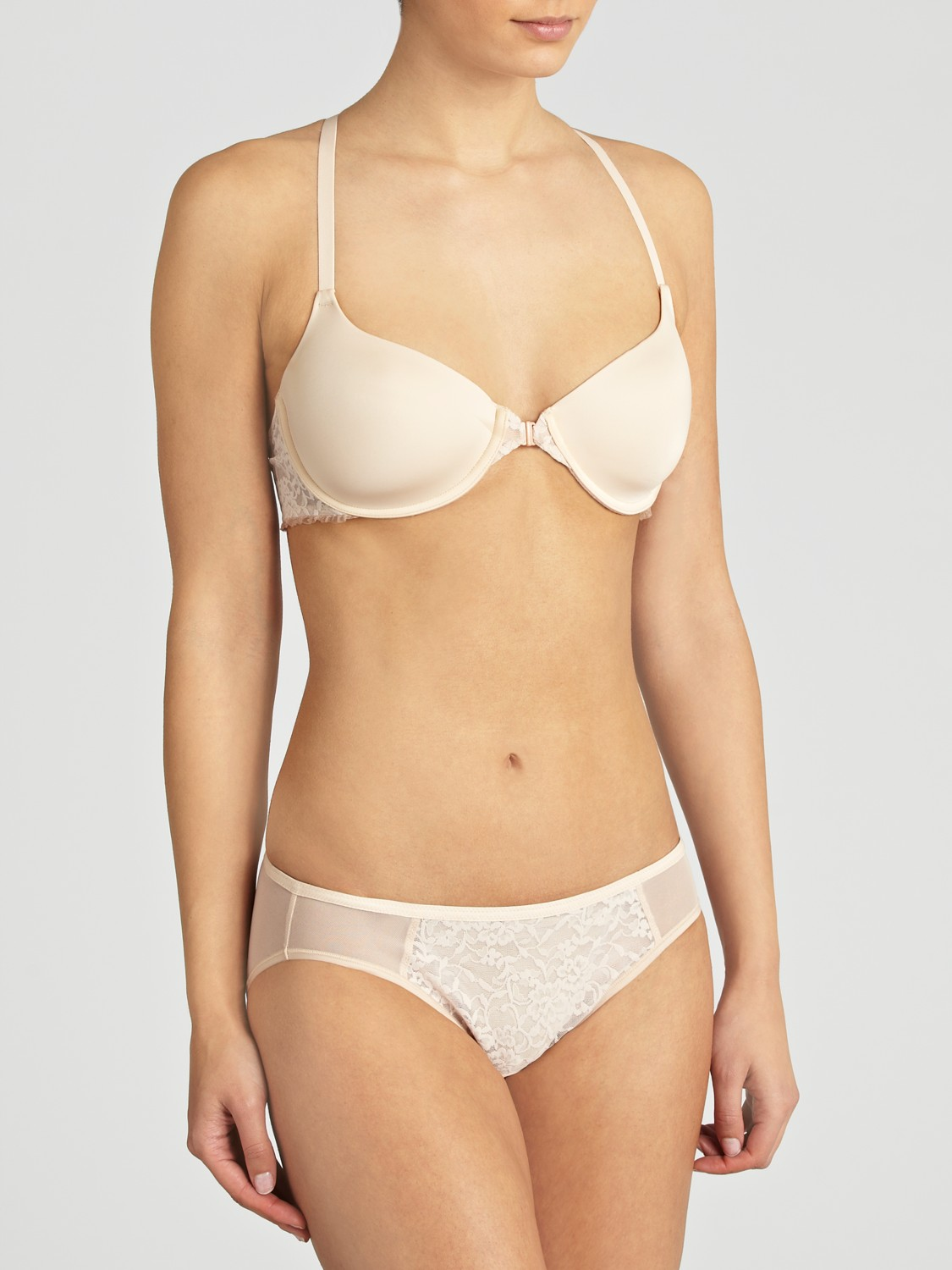 8ce29b57f77a0 Dkny Signature Lace T-back Bra in Natural - Lyst