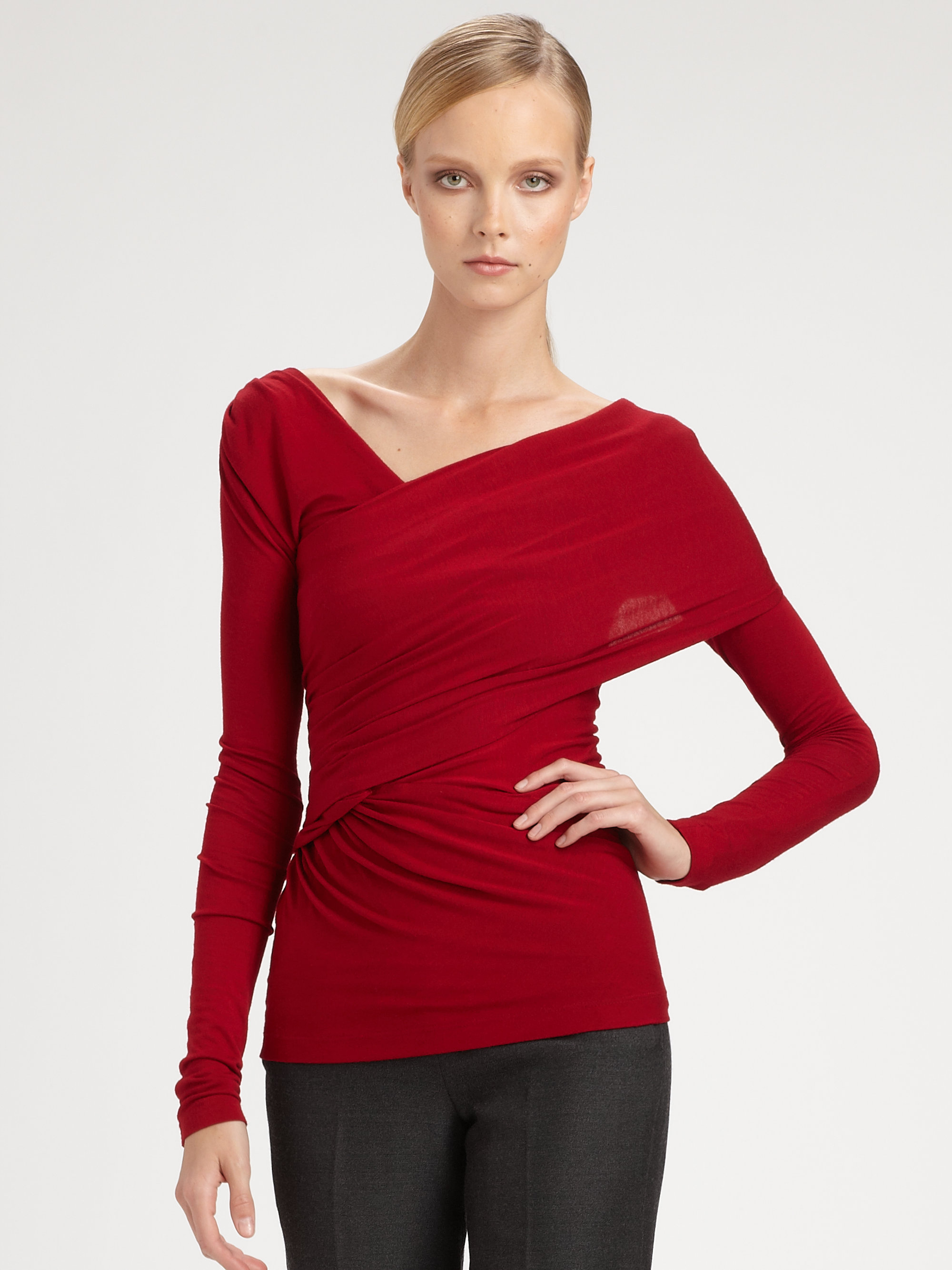 Donna karan new york asymmetrical top in red scarlet lyst for Donna karen new york