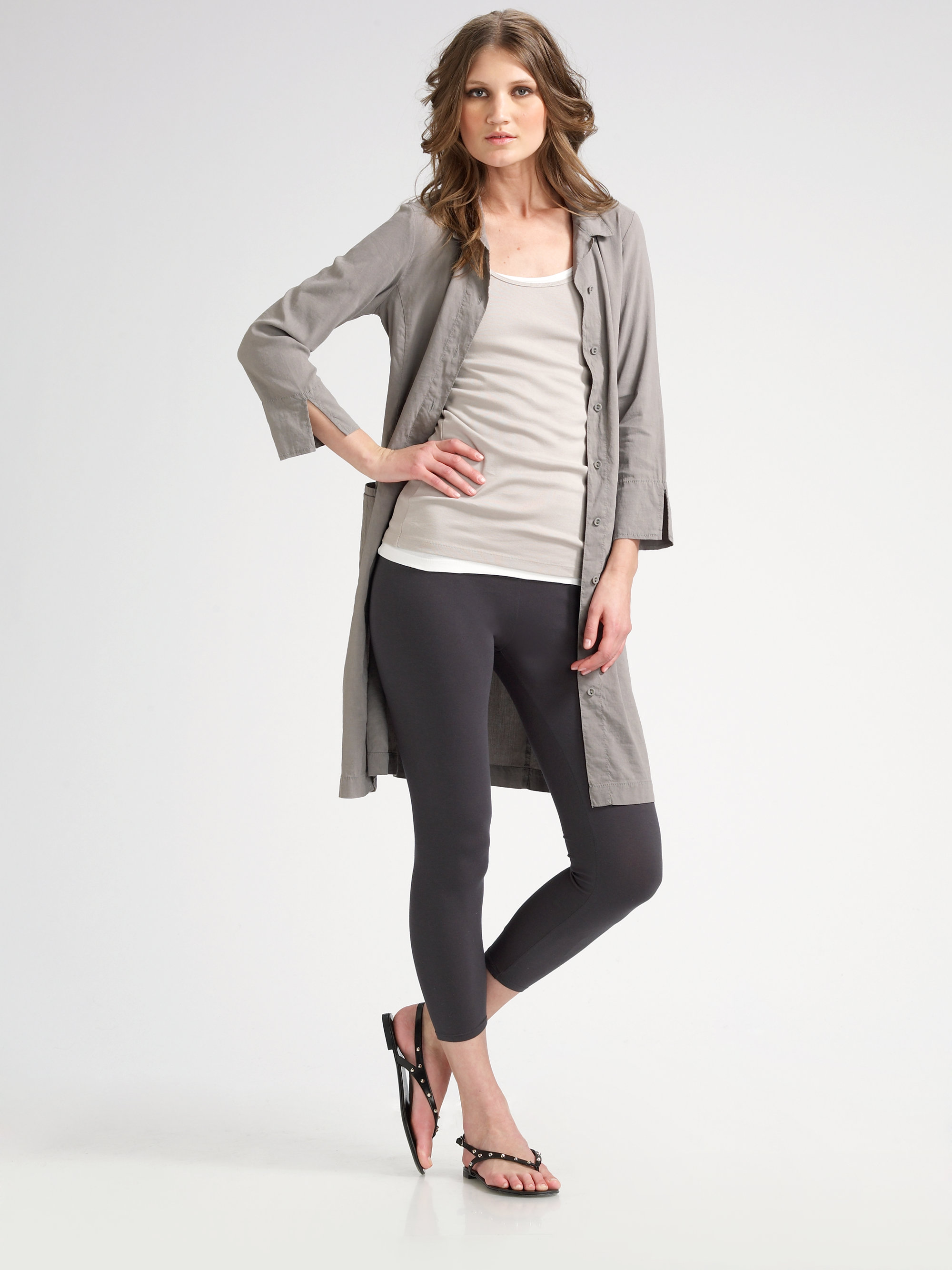 Lyst Eileen Fisher Organic Cotton Cropped Leggings In Gray
