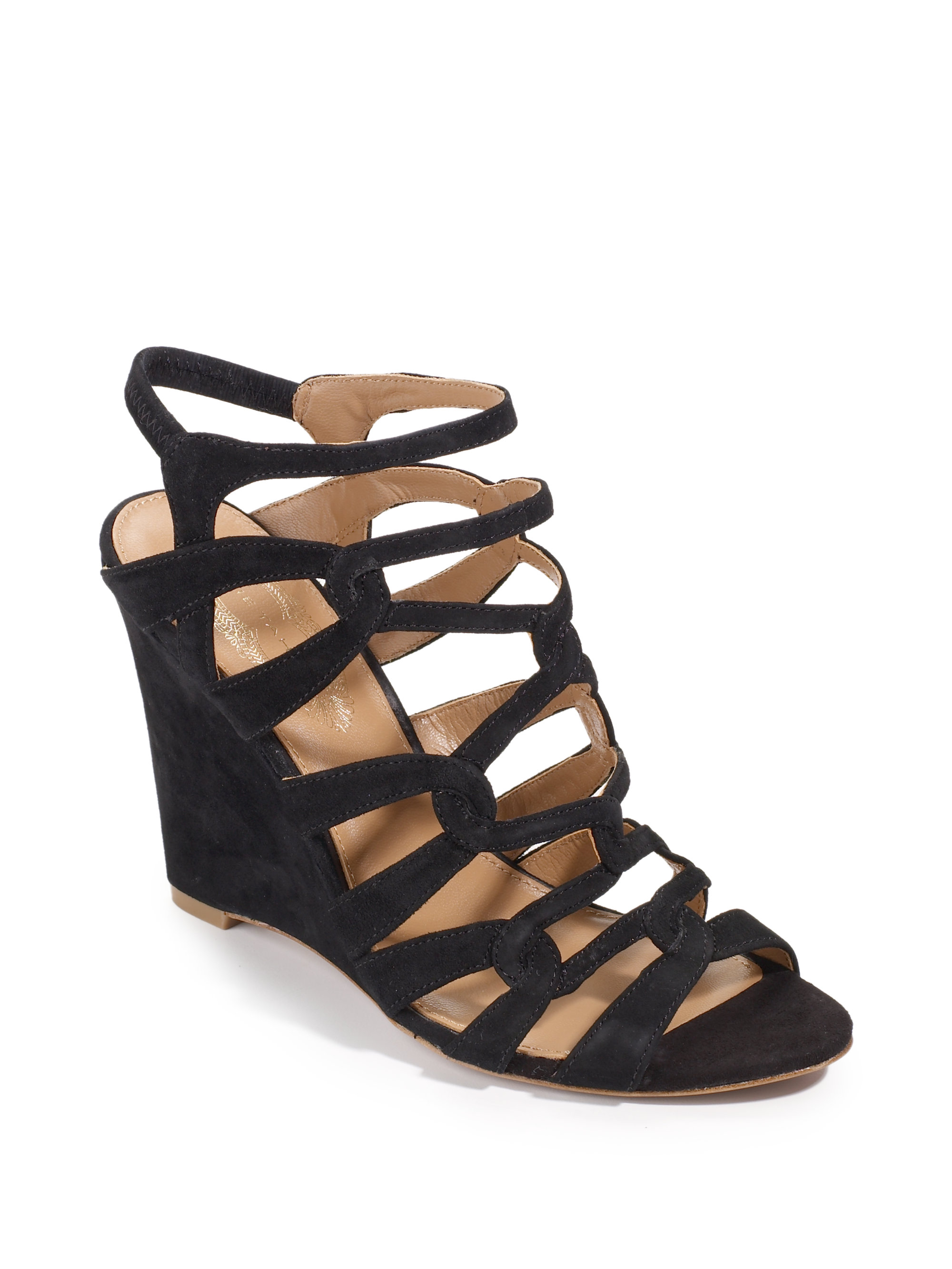 elie tahari meredith suede wedge sandals in black lyst
