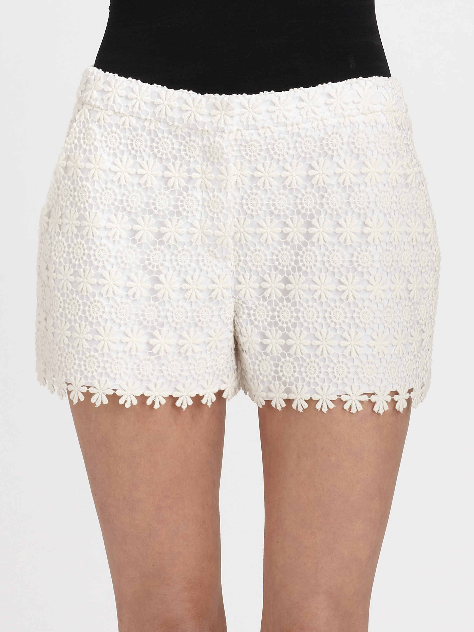 Lyst Elie Tahari Patrice Embroidered Lace Shorts In White