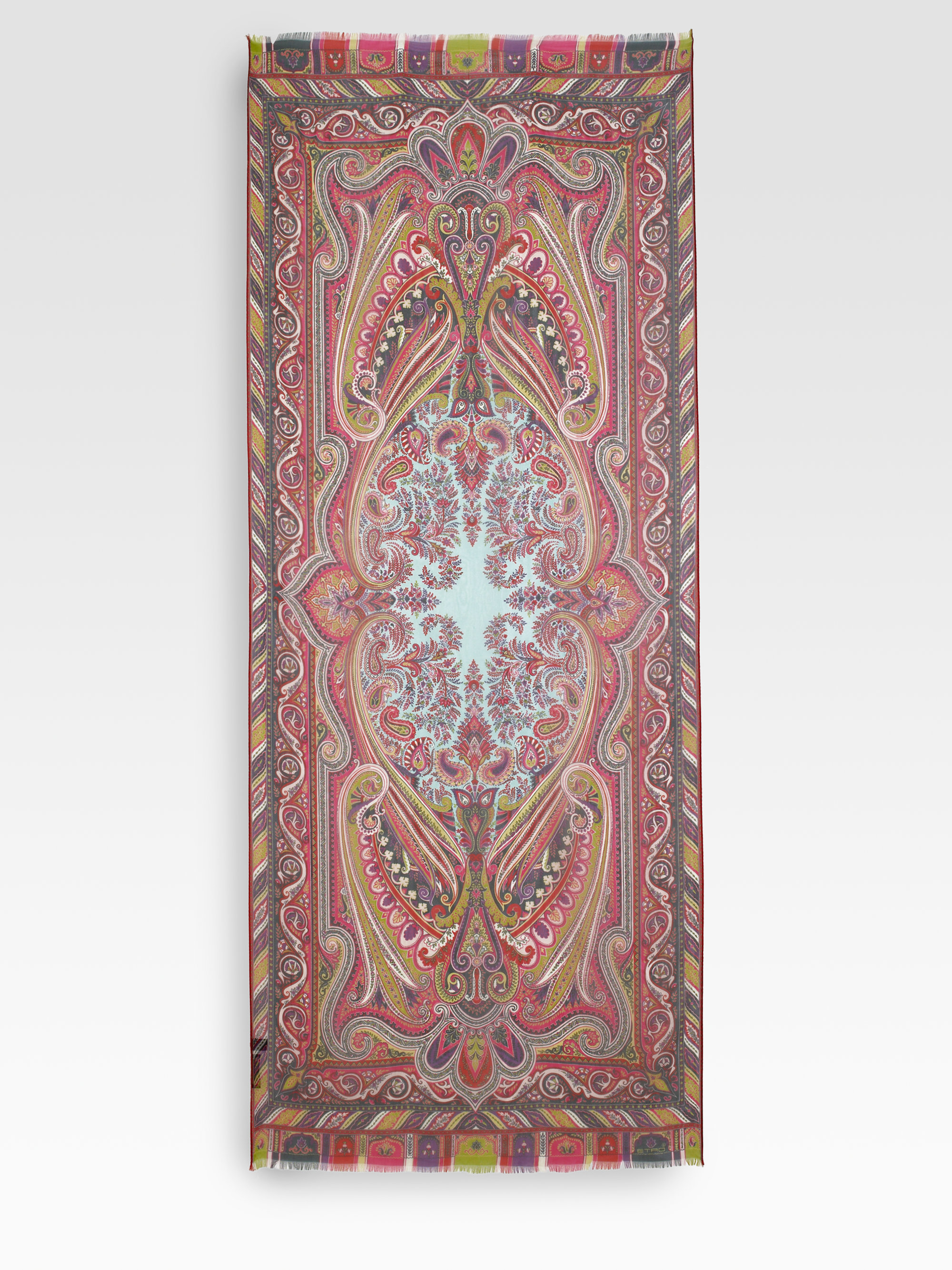 etro dhely paisley silk scarf in for lyst