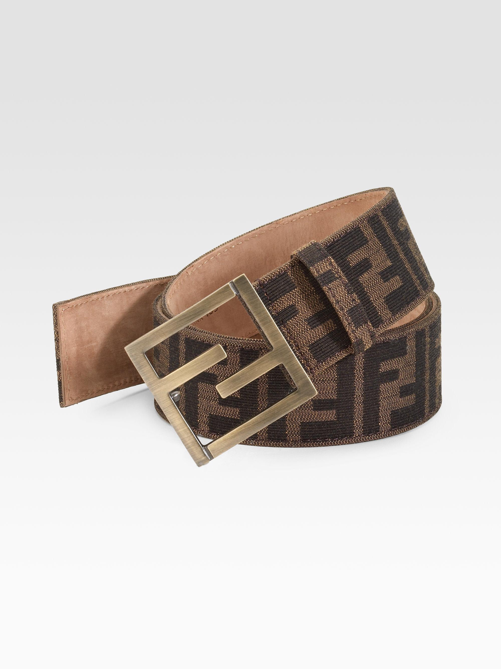 fendi zucca jacquard belt in brown for lyst