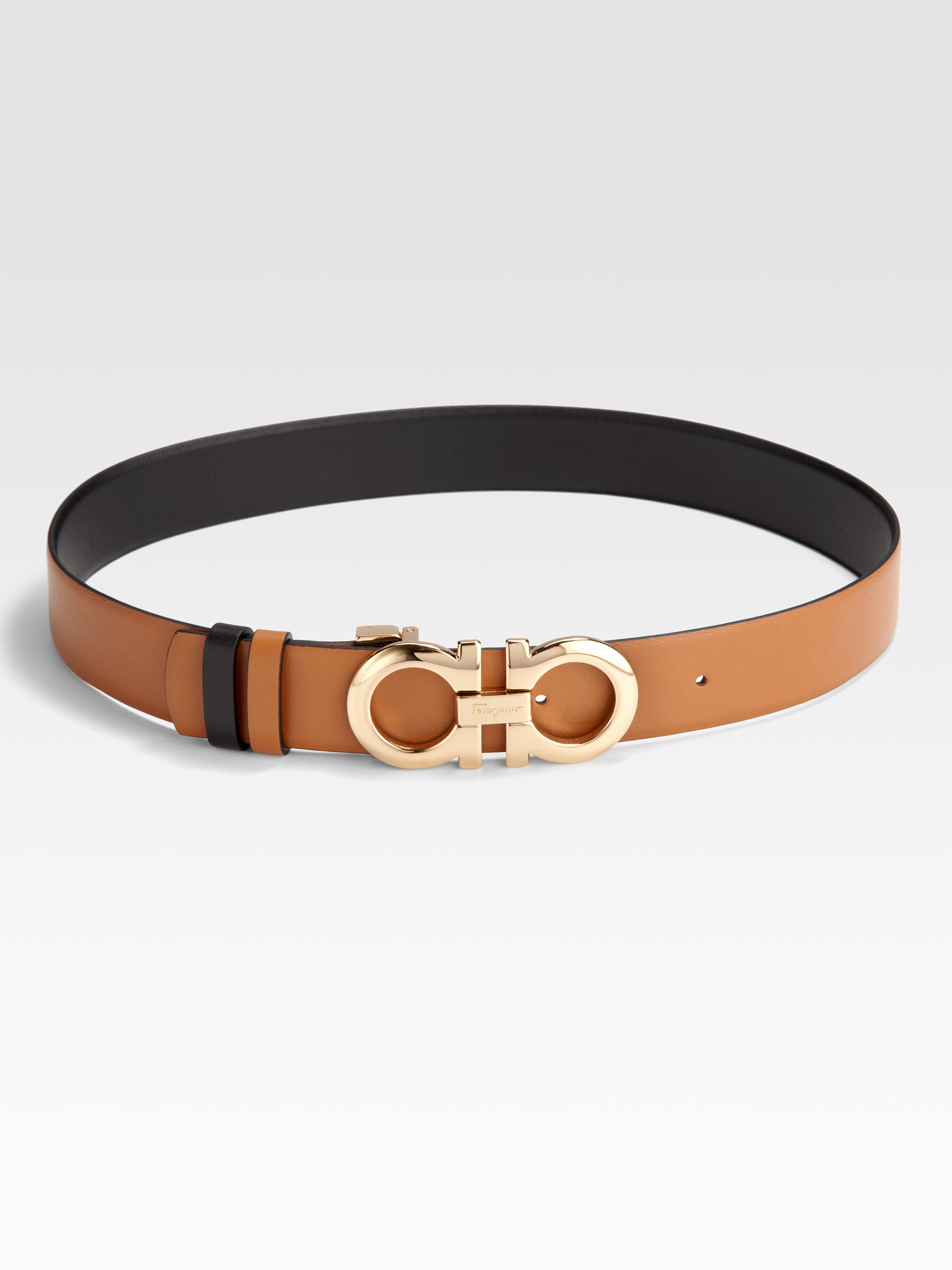 c06035df13ba1 ... double gancini leather belt e9f95 6b3c7  canada lyst ferragamo  reversible leather and brass belt in brown e9876 db888