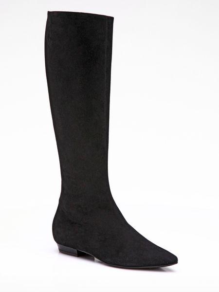 giuseppe zanotti suede flat kneehigh boots in black lyst