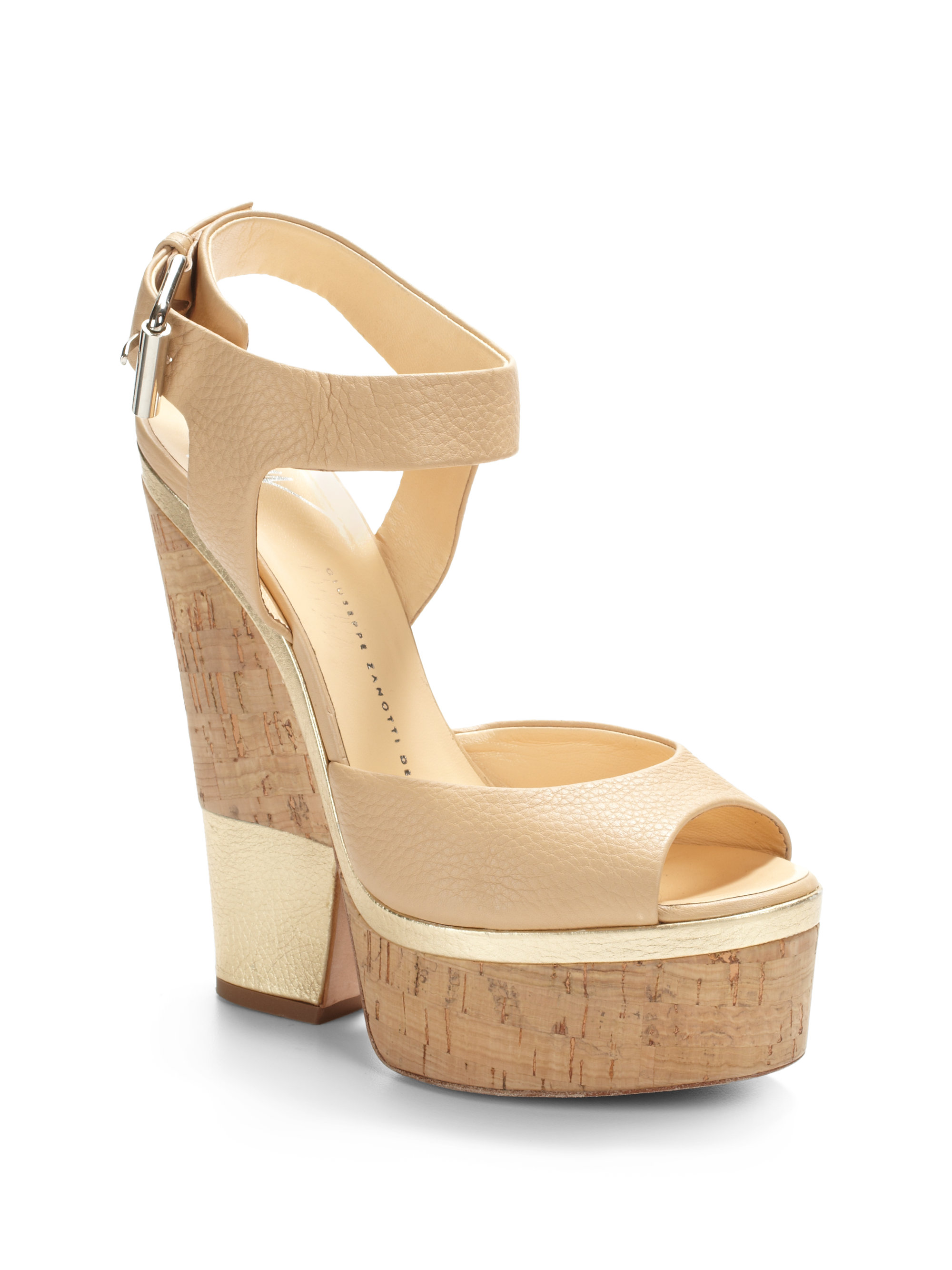 Giuseppe Zanotti Leather Wedged Sandals buy cheap price sale best place FwnC64IR