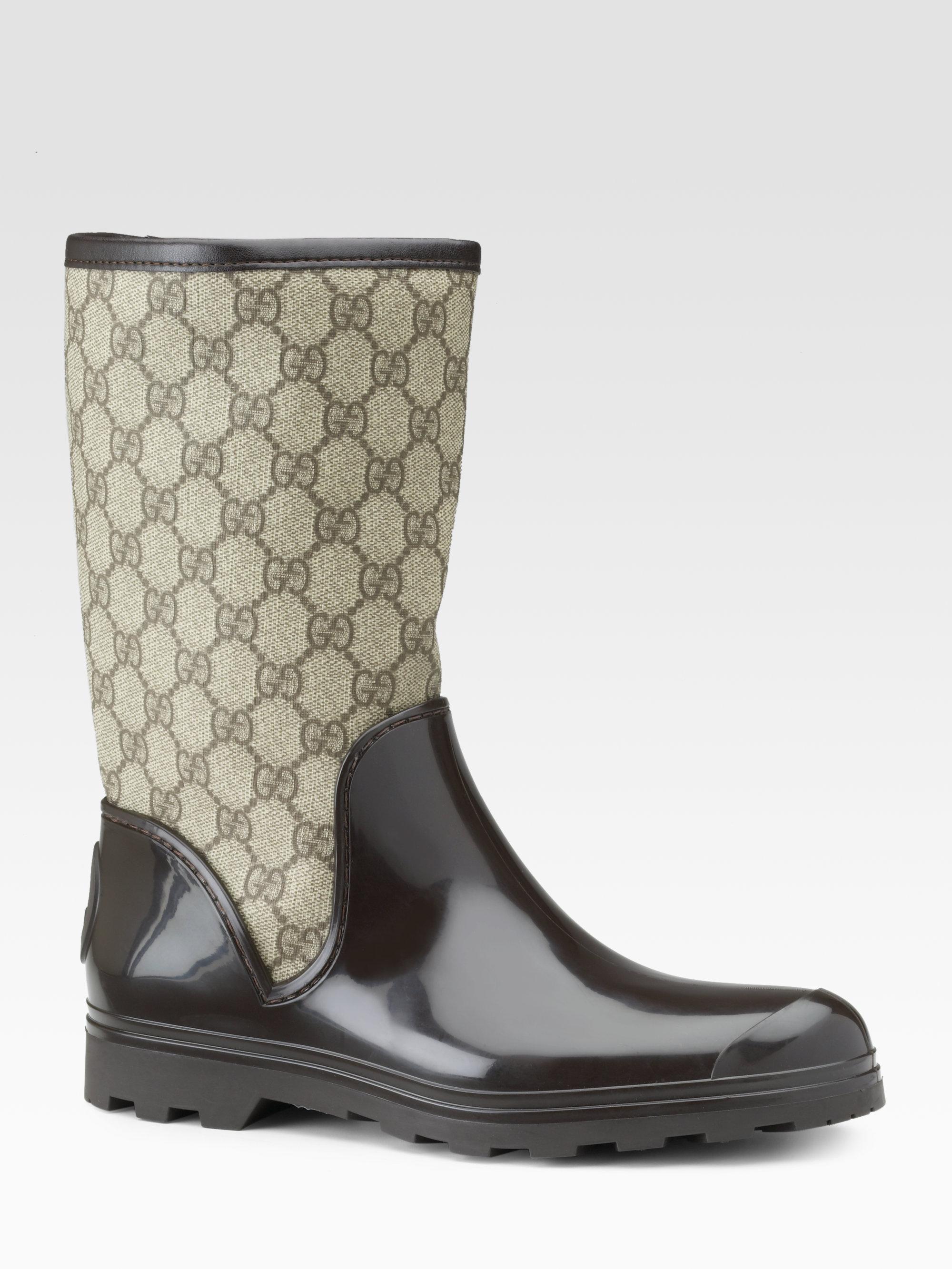 Gucci Prato Flat Rainboots In Brown Lyst