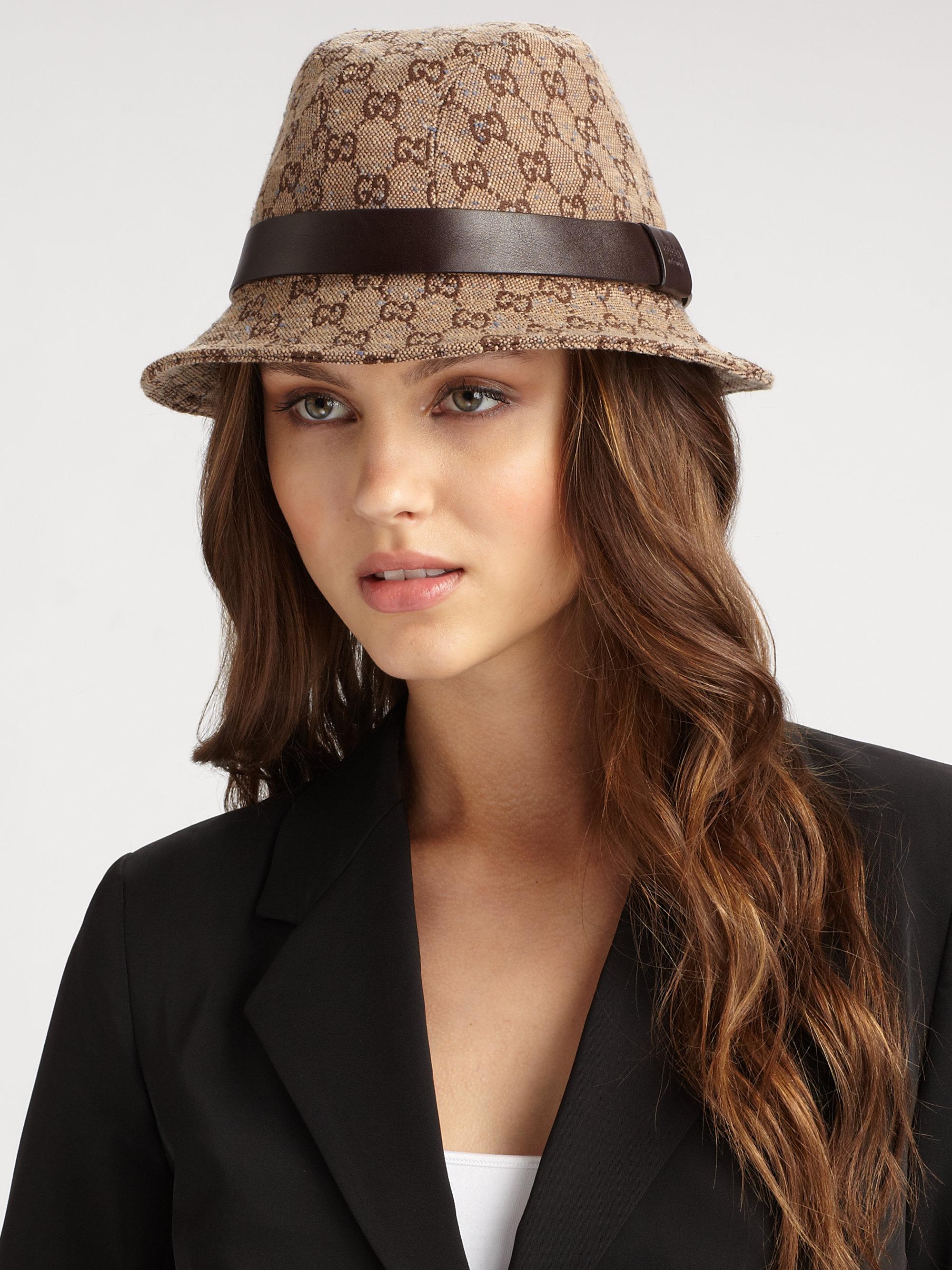 2e447429 Gucci Brown Gg Fedora Hat