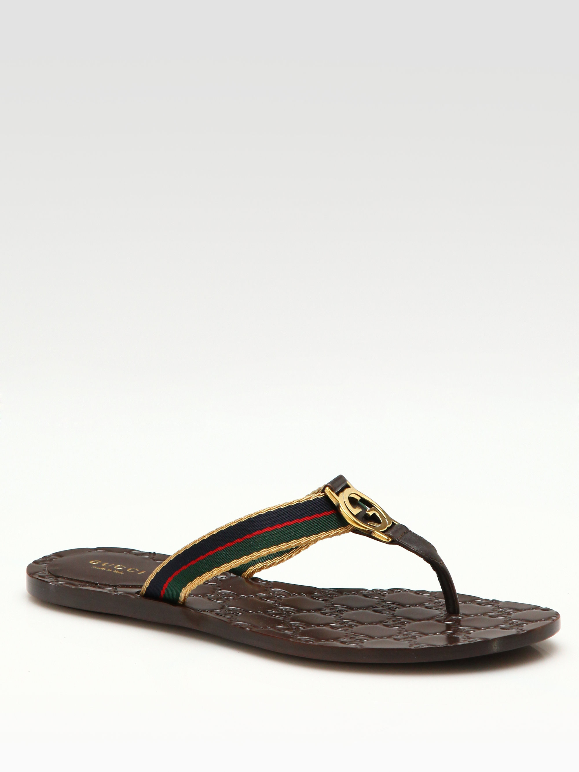 022be1caf23c Lyst - Gucci Gg Thong Sandals in Brown