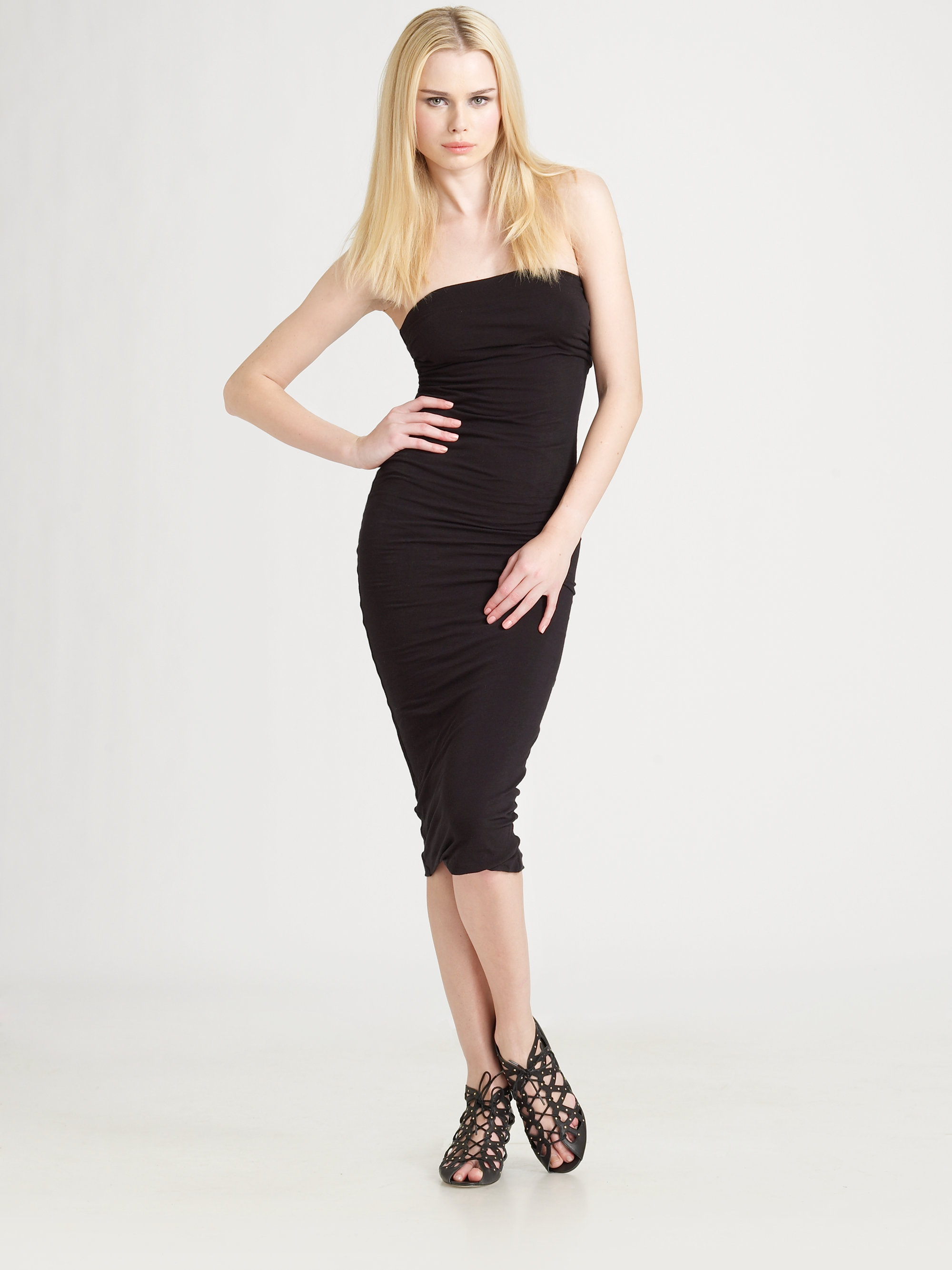 James perse Strapless Jersey Tube Dress in Black | Lyst