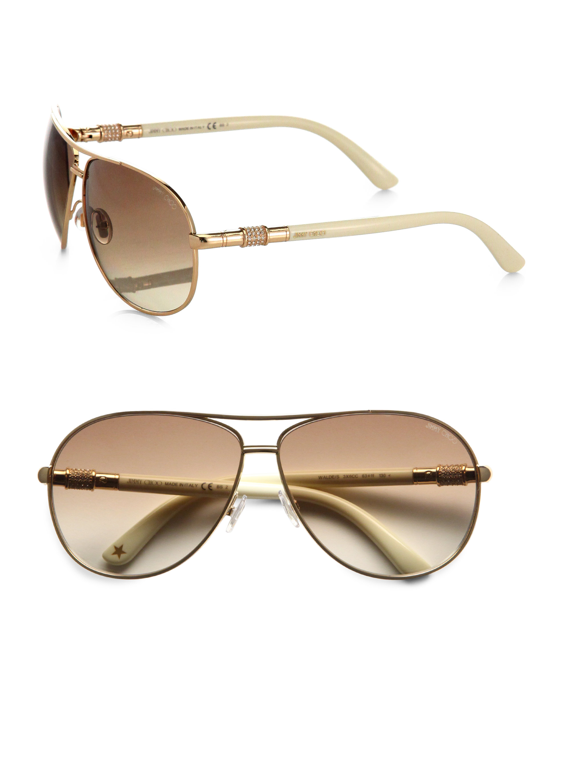 Ray Price Ford >> Jimmy Choo Waldes Aviator Sunglasses in Rose Gold-Ivory ...
