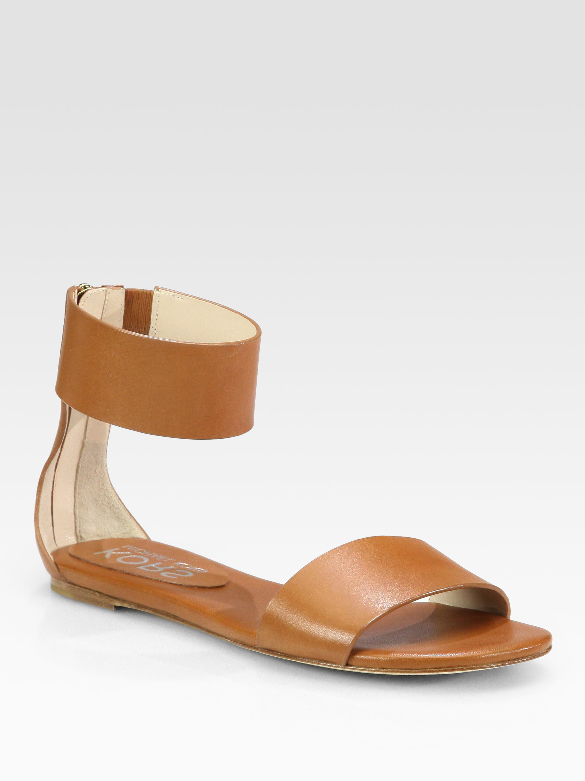 feac3c7a896 Lyst - Kors by Michael Kors Ava Leather Ankle Strap Sandals in Brown