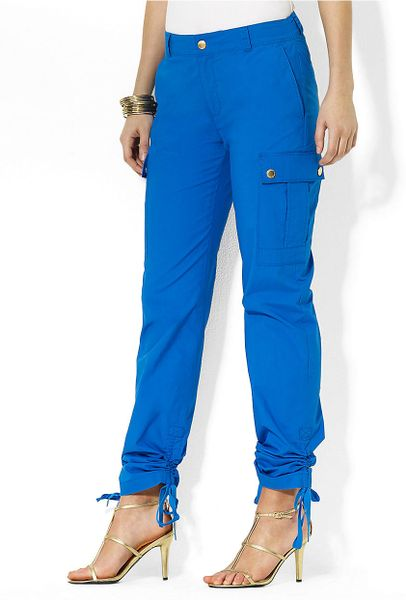 Perfect Lauren By Ralph Lauren Suede Cargo Jogger Pants In Blue  Lyst