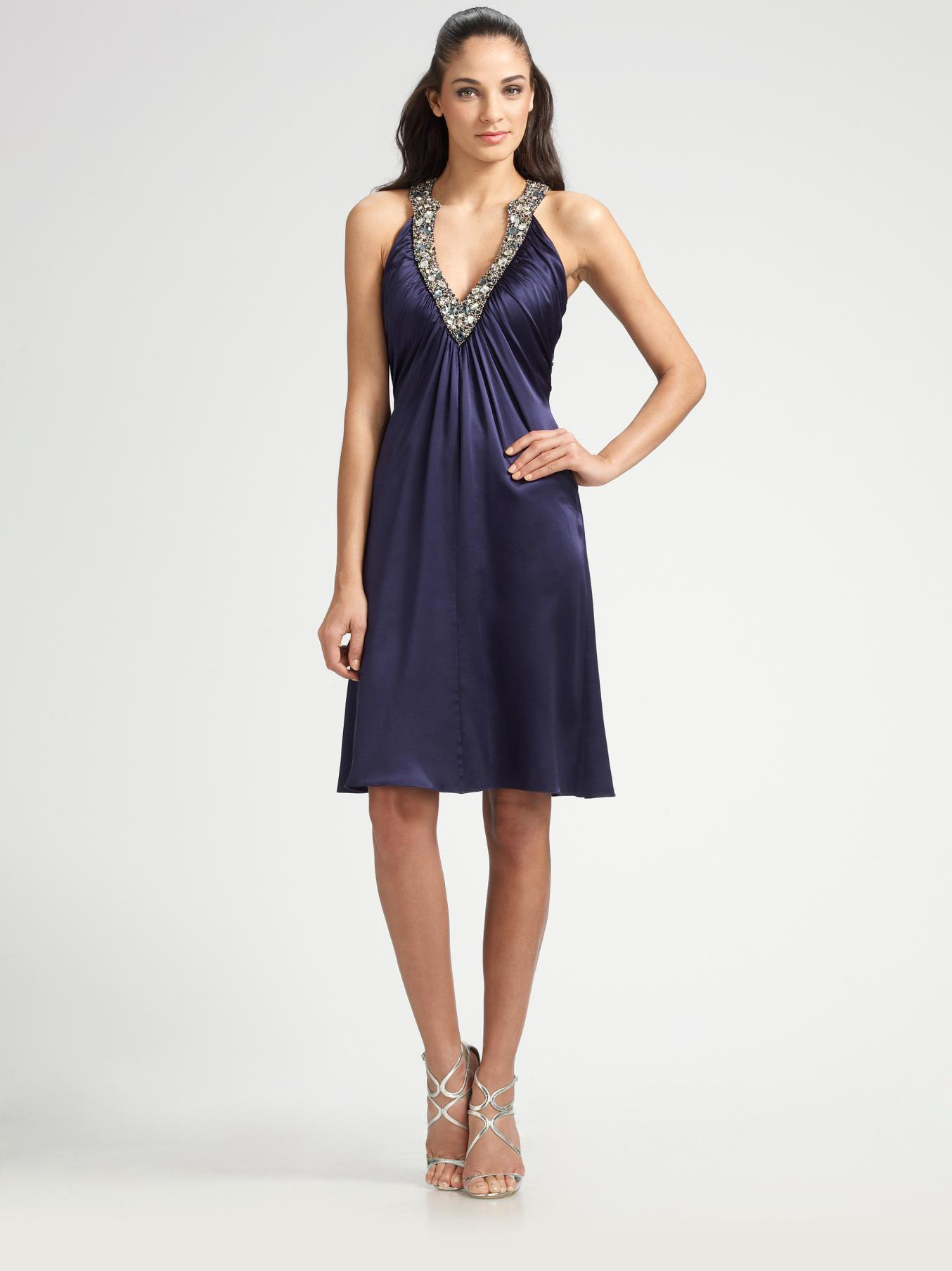 Marc Bouwer Glamit Beaded Silk Charmeuse Dress In Navy