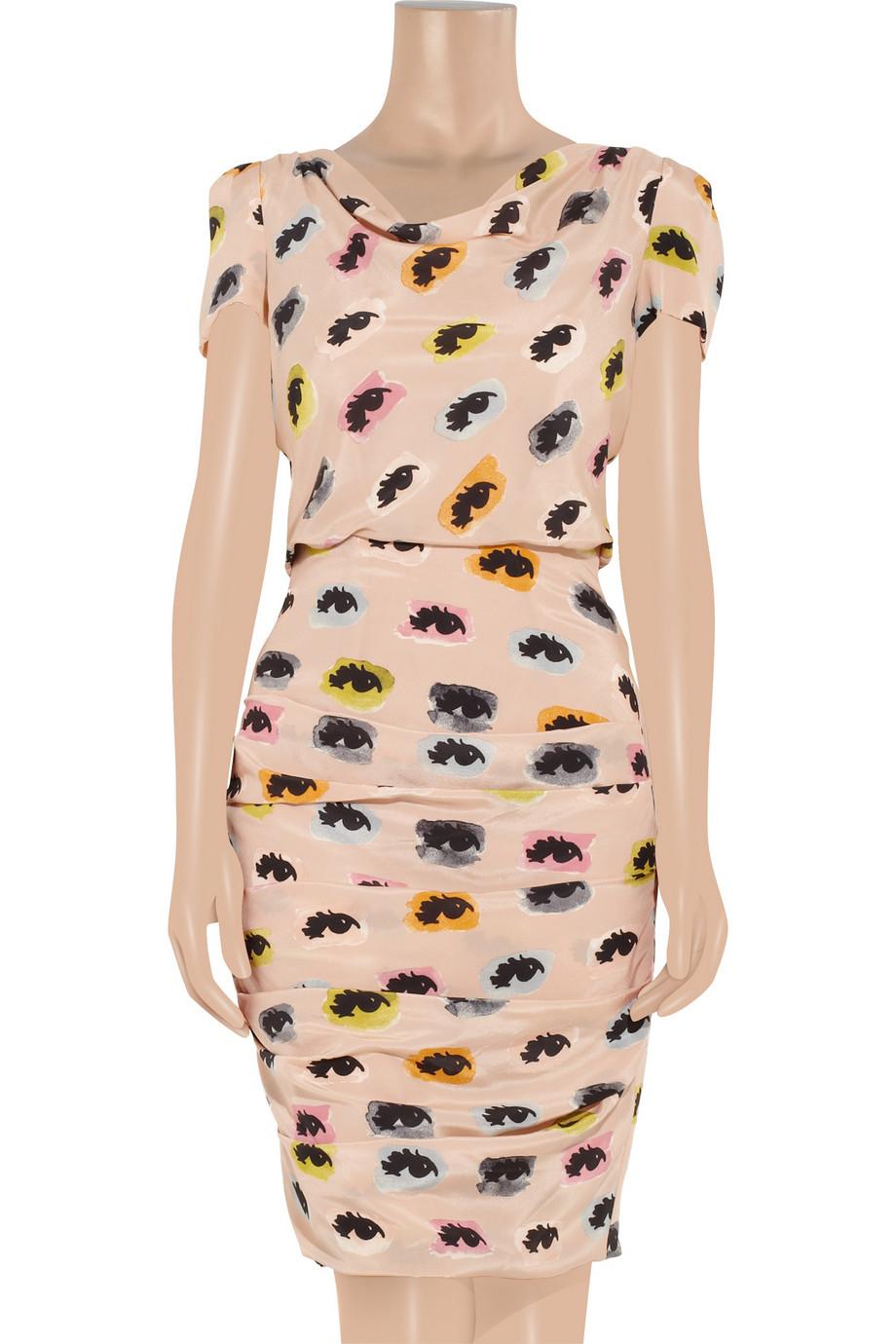 Boutique Moschino Eye Print Draped Silk Dress In Rose