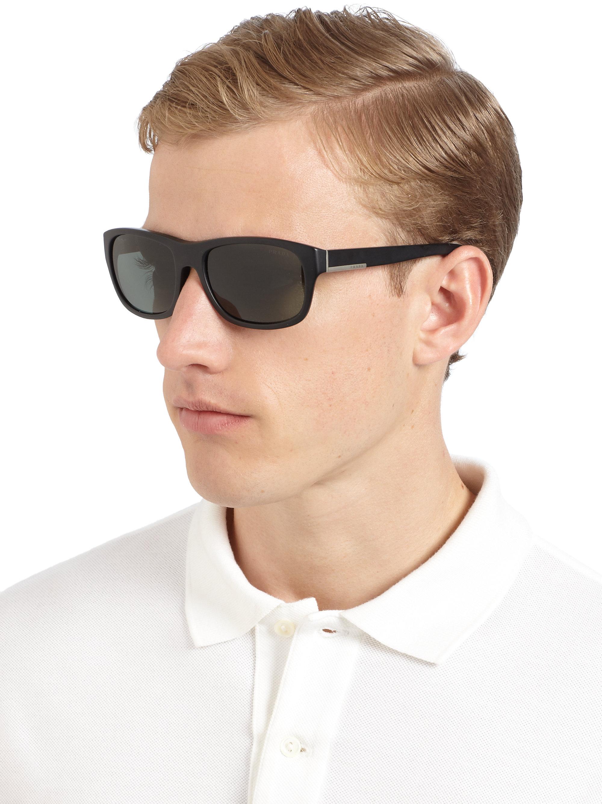 Prada Classic Acetate Sunglasses in Black for Men   Lyst