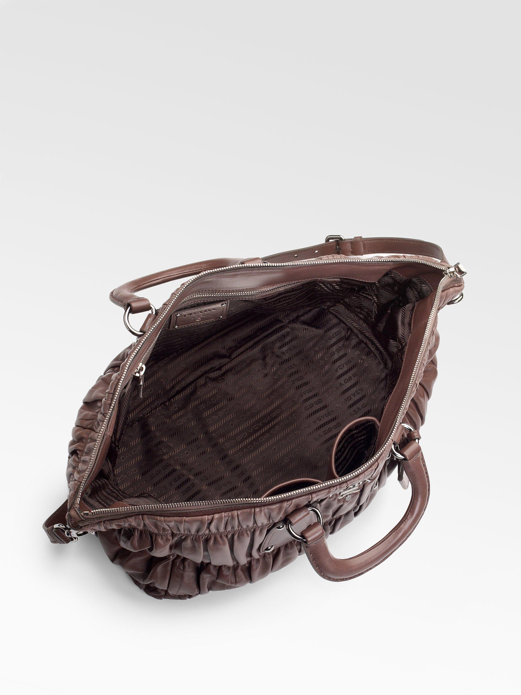 Prada Eastwest Nappa Gaufre Satchel in Brown (dark brown)   Lyst