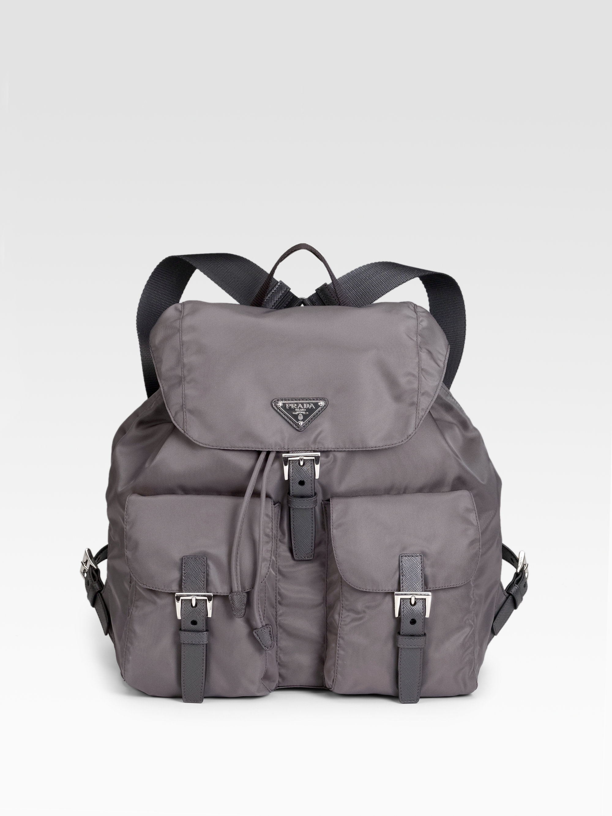 bd2120b8f3c0 ... italy lyst prada vela backpack in gray b2d9f 8da01