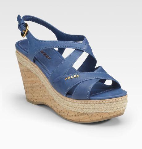 prada cork wedge sandals in blue denim lyst
