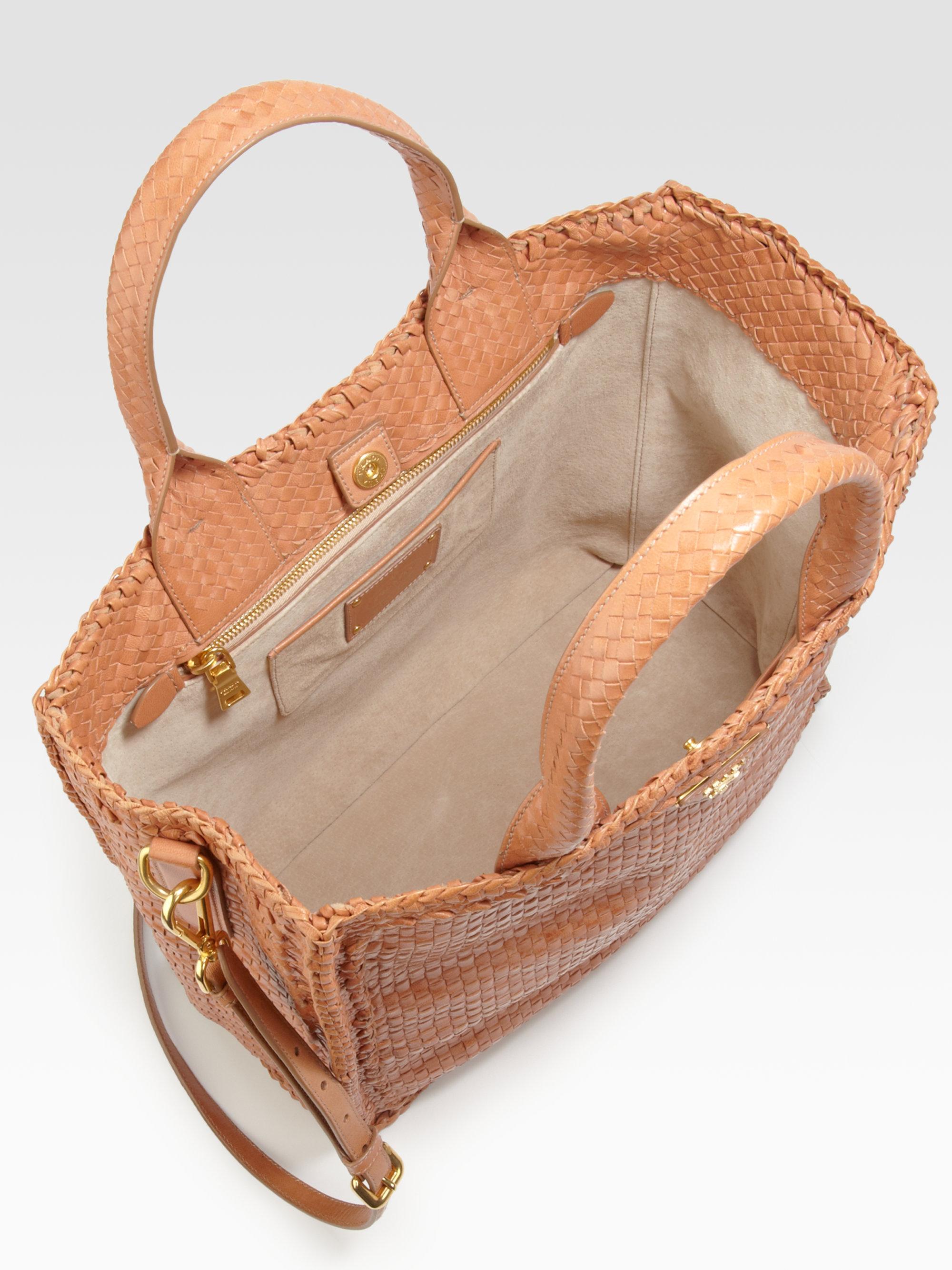 Prada Madras Woven Leather Tote Bag in Orange (nude) | Lyst