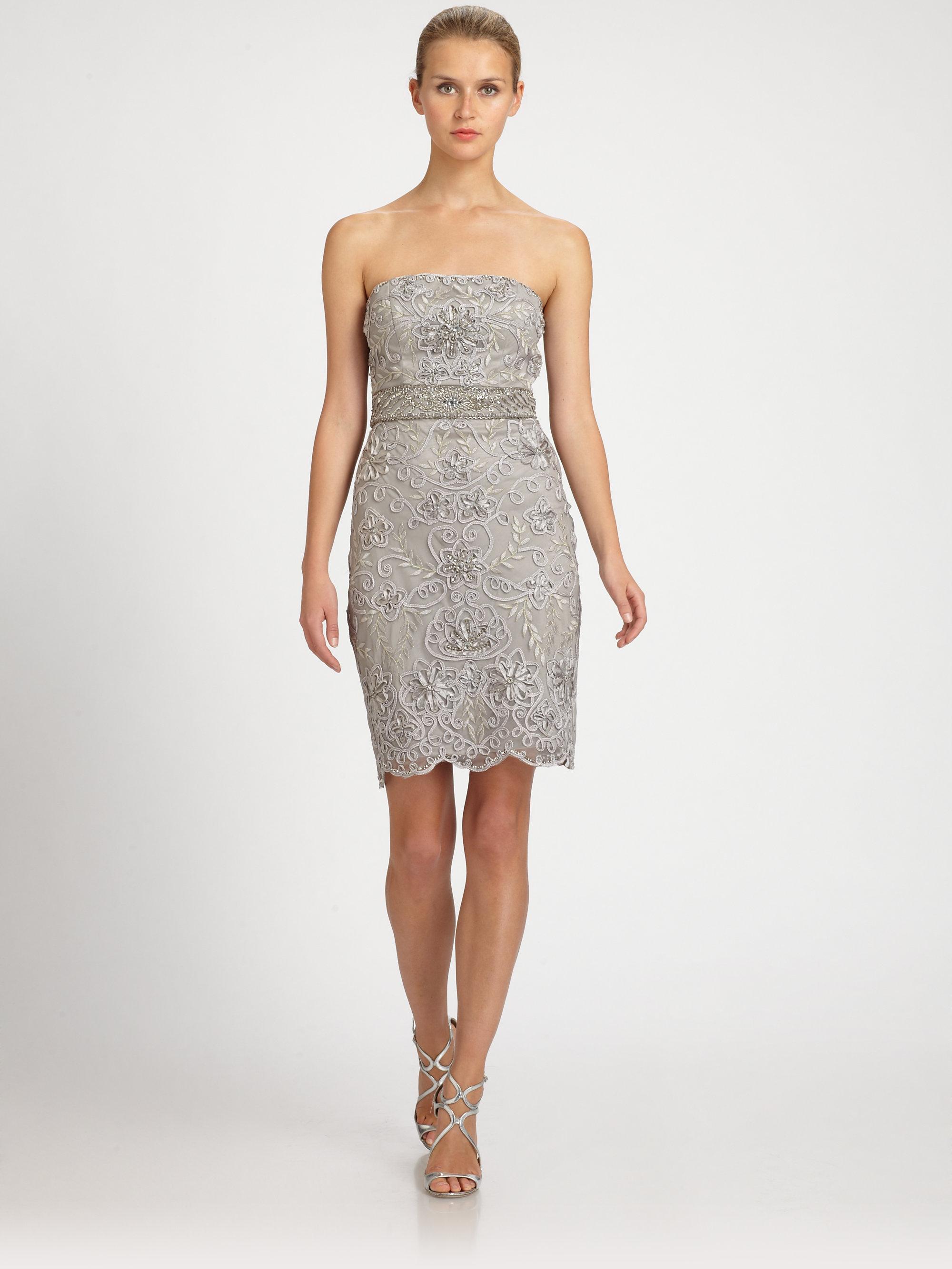Sue wong Beaded Strapless Dress in Metallic - Lyst