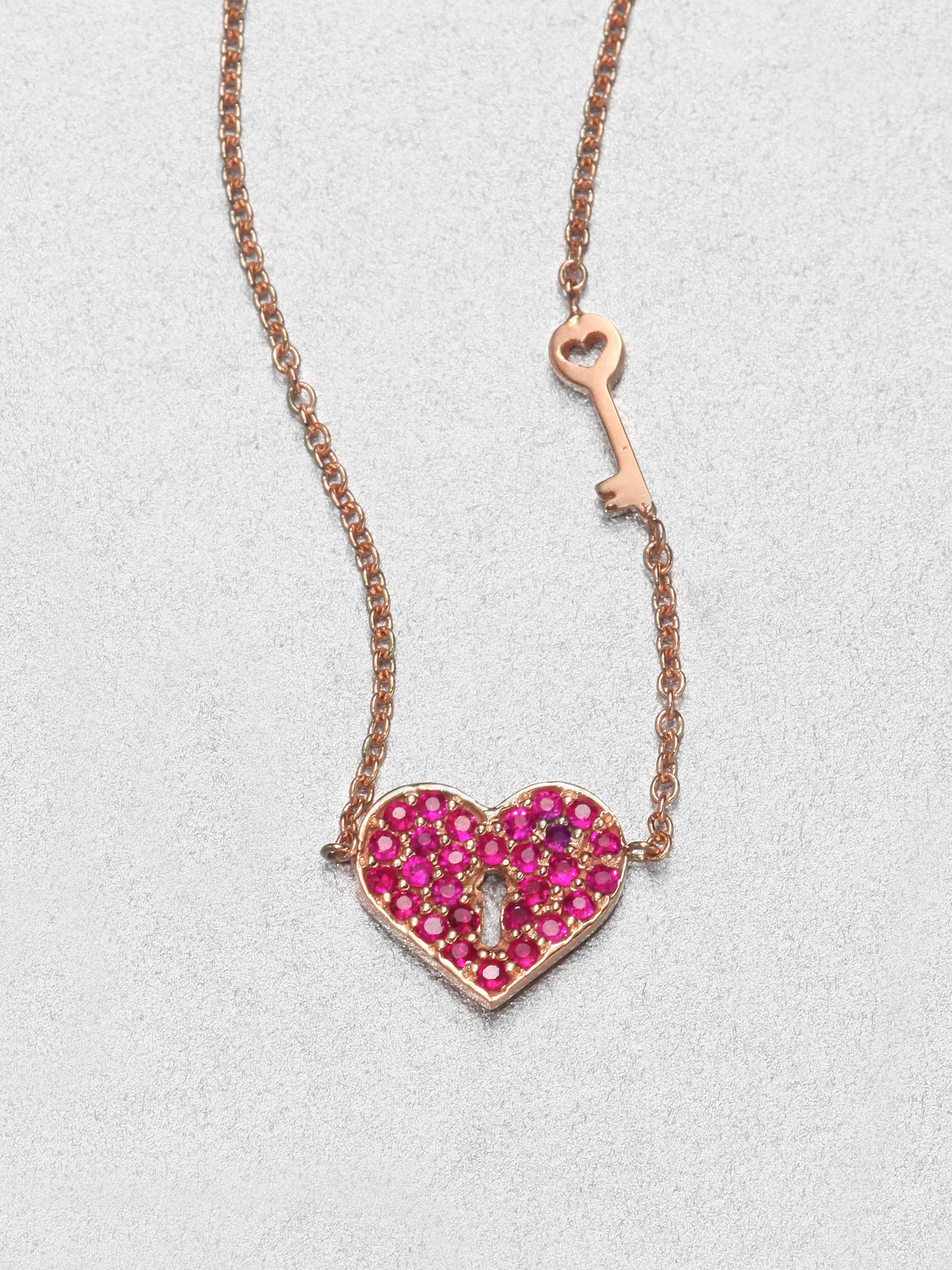 Lyst Sydney Evan Ruby Amp 14k Rose Gold Heart Key Pendant