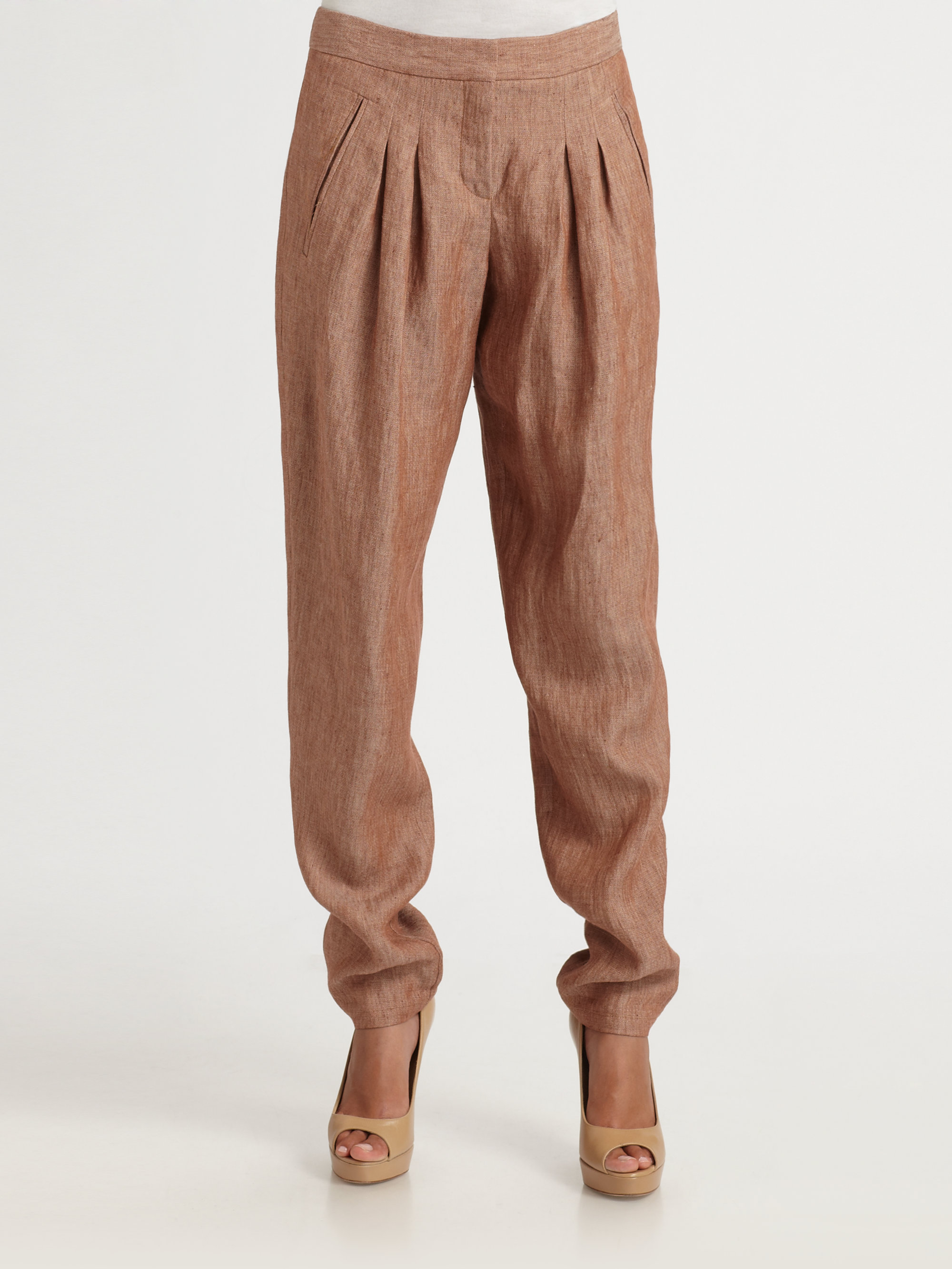 Theory Dalisha Pleated Linen Pants in Brown | Lyst