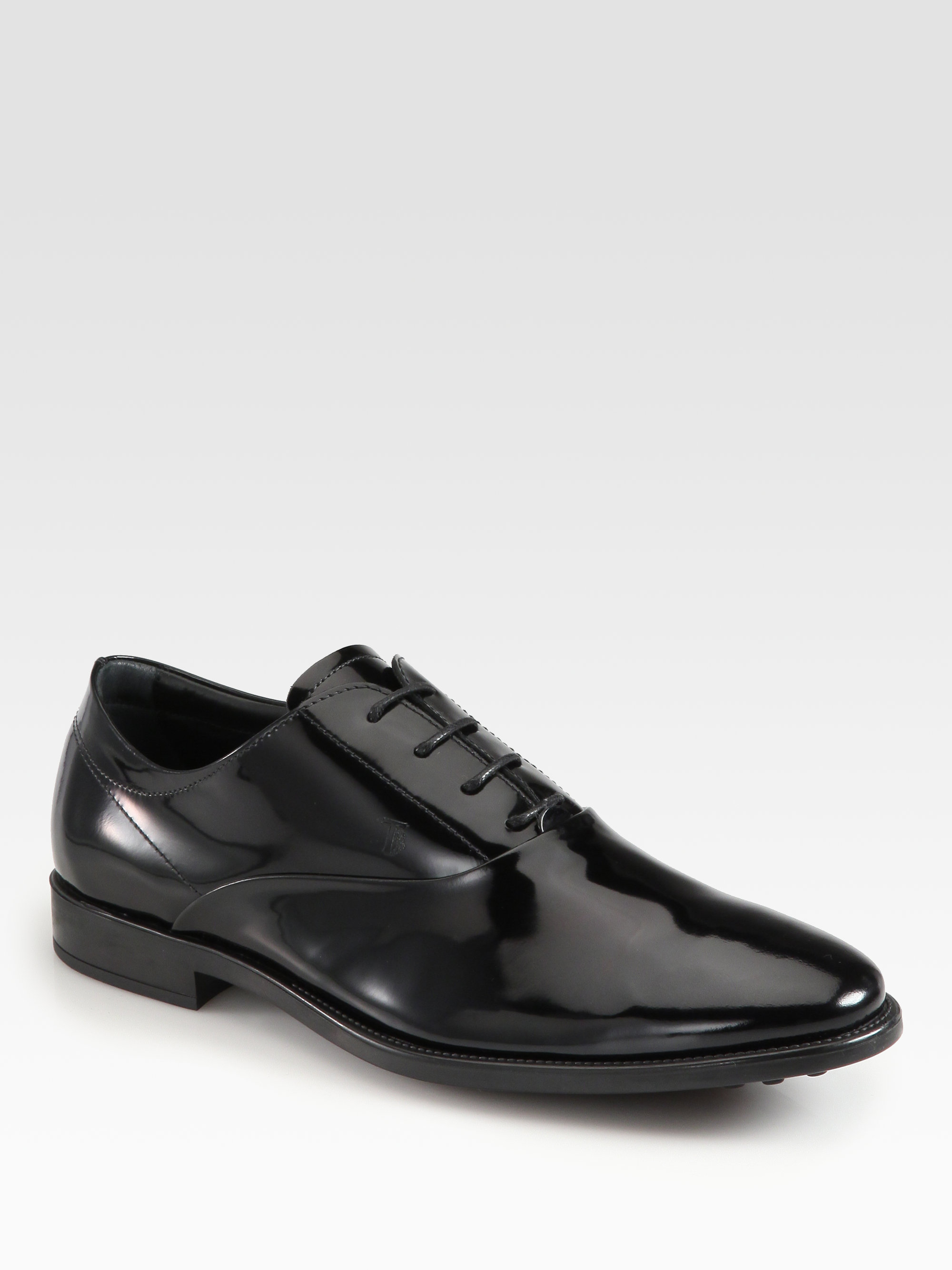 Tod's Patent Leather Laceup Oxfords in