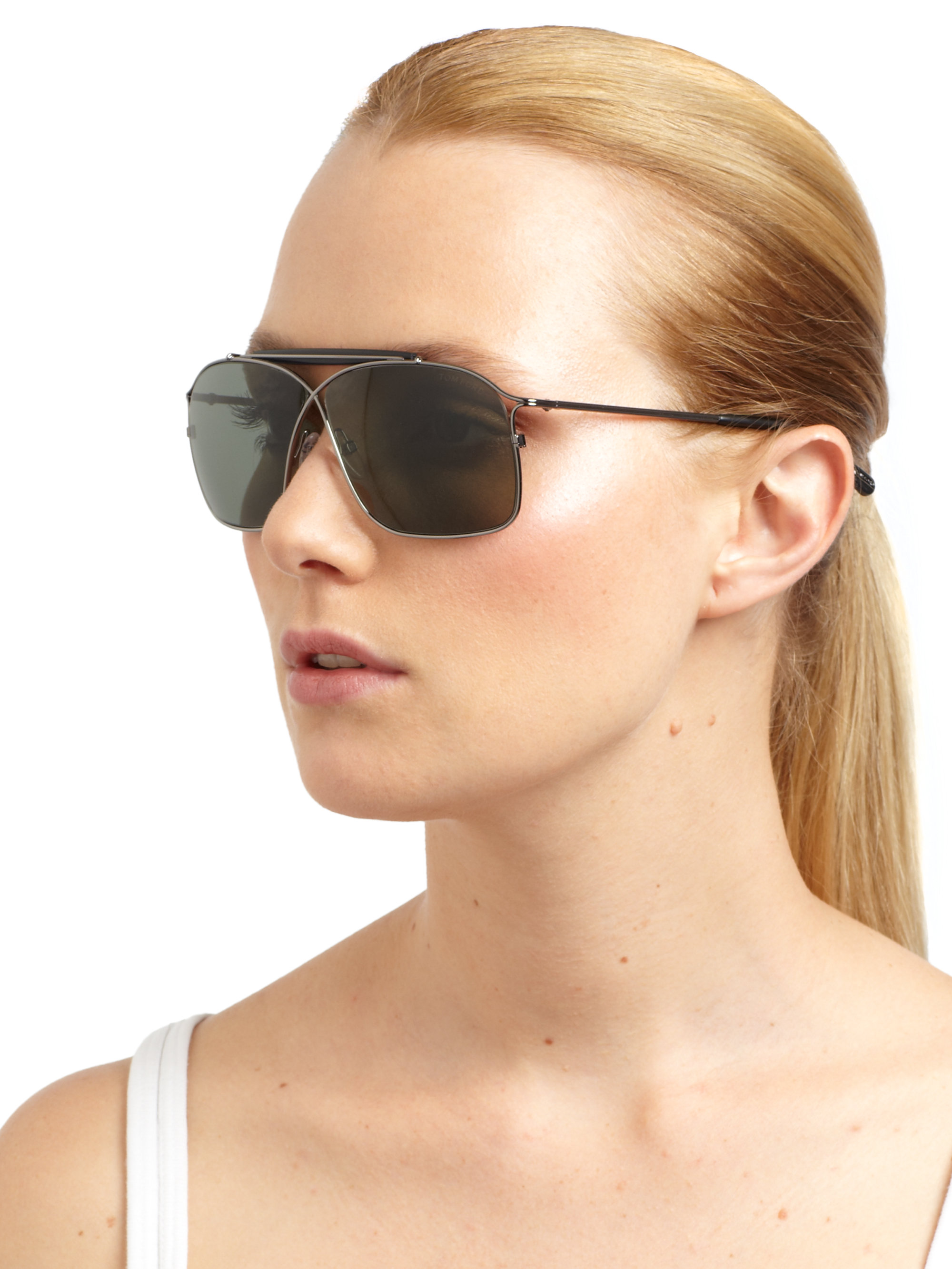 Lyst Tom Ford Felix Crossover Aviator Sunglasses In Green