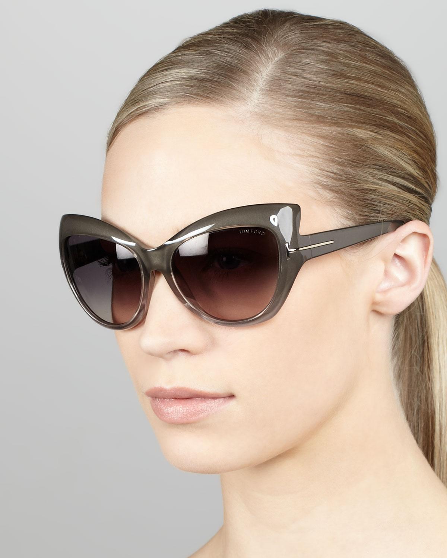 Lyst Tom Ford Bardot Sharp Cateye Sunglasses In Gray
