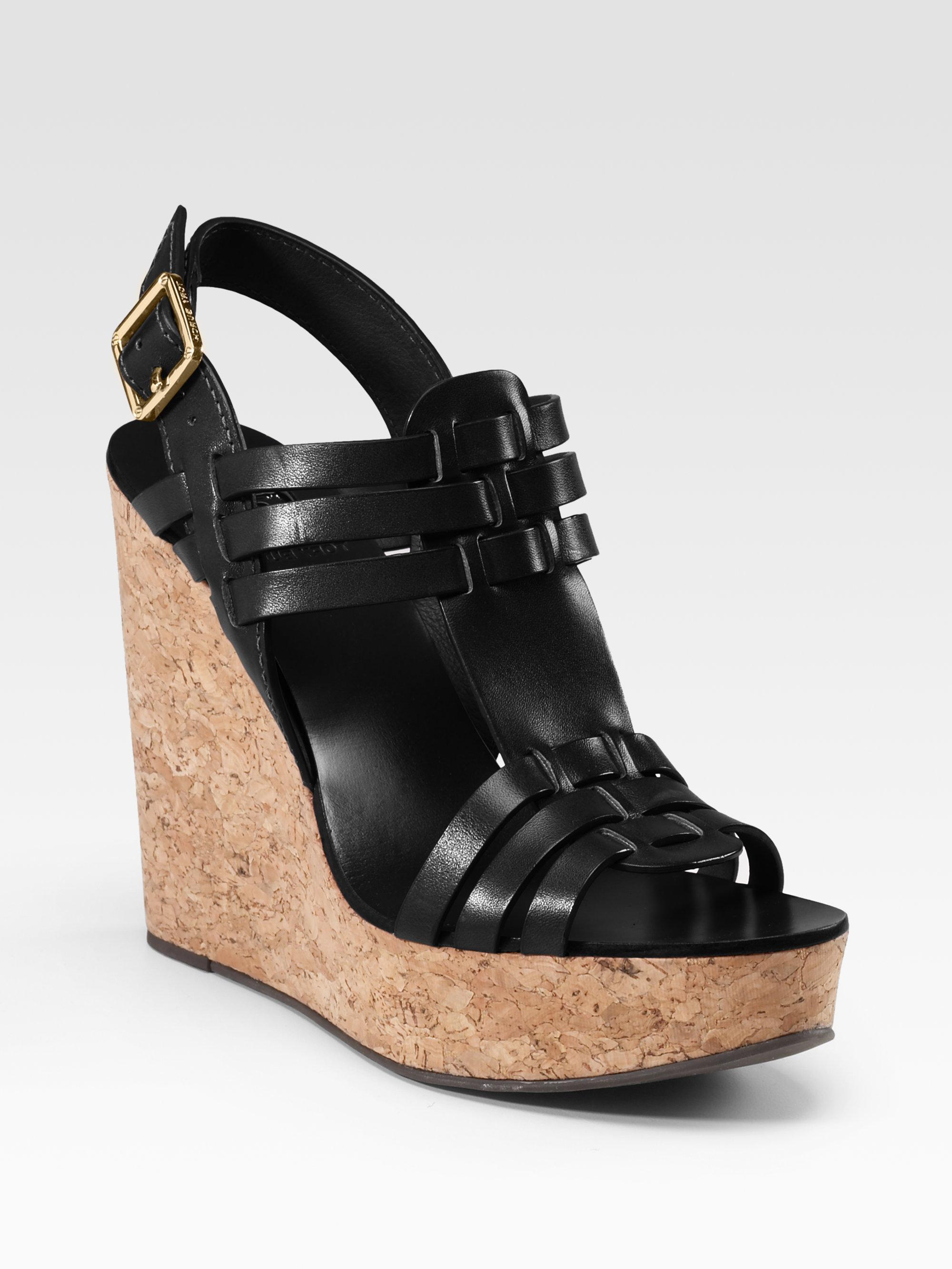 burch leslie cork wedge sandals in black lyst