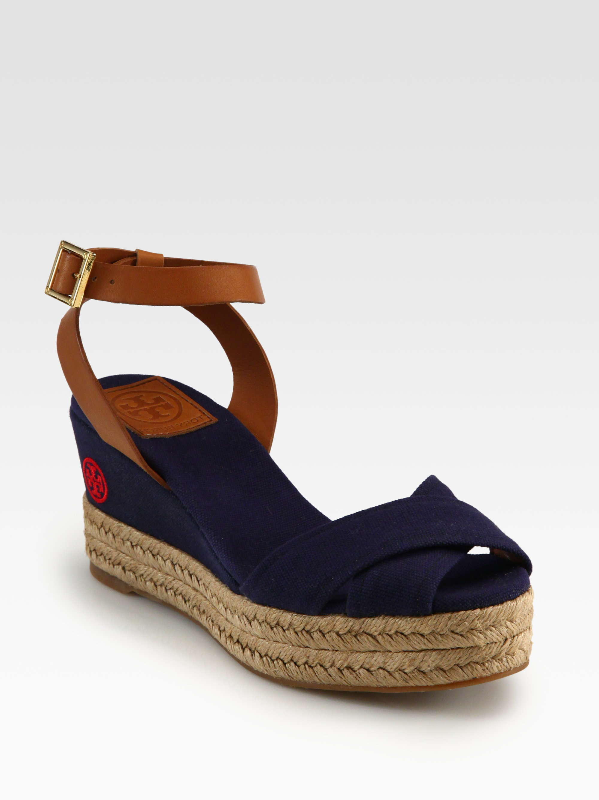 81b95a74841 Lyst tory burch karissa canvas leather espadrille wedges in blue jpg  2000x2667 Navy canvas wedges
