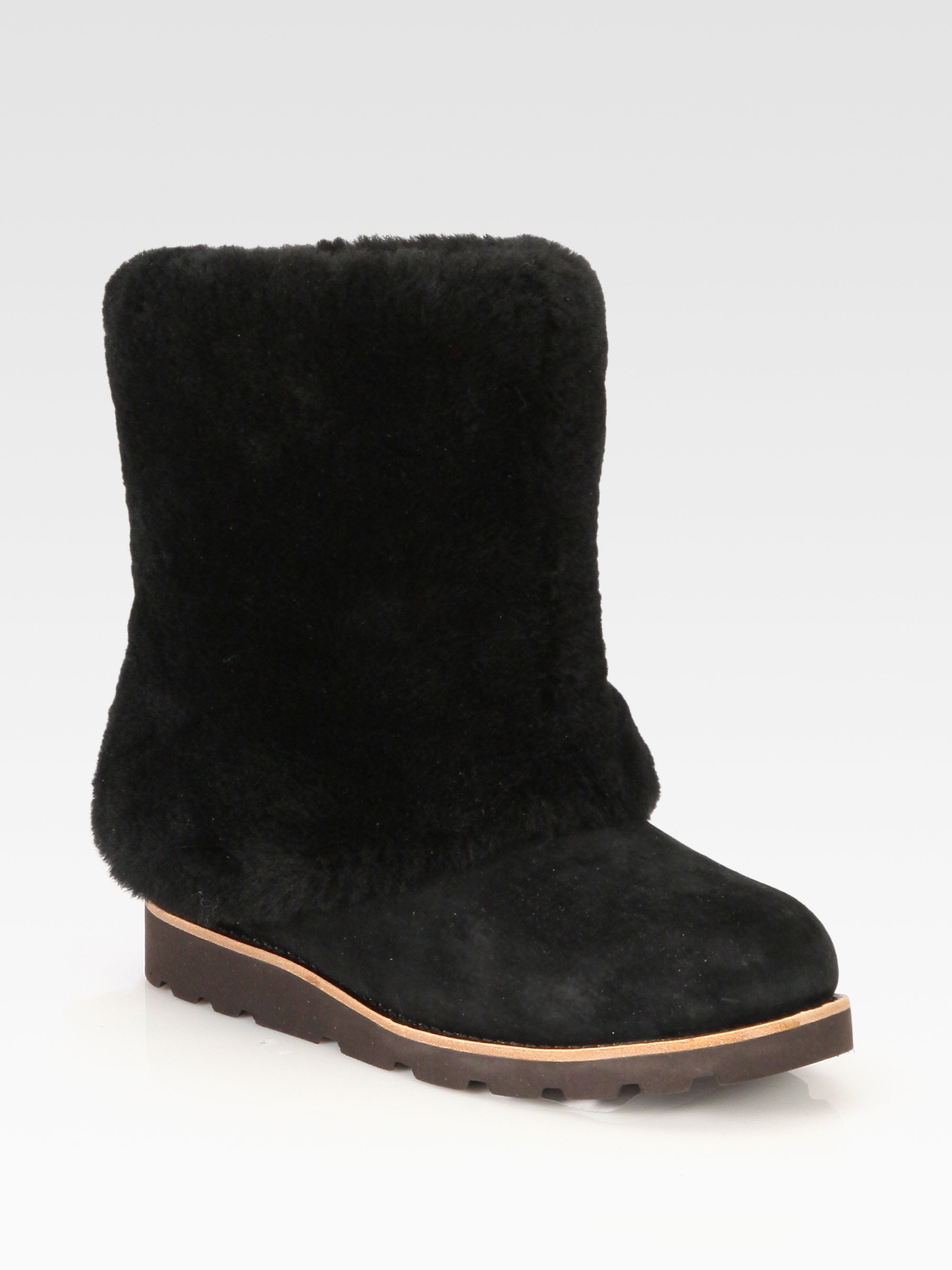 ugg maylin suede shearling cuff ankle boots in black lyst