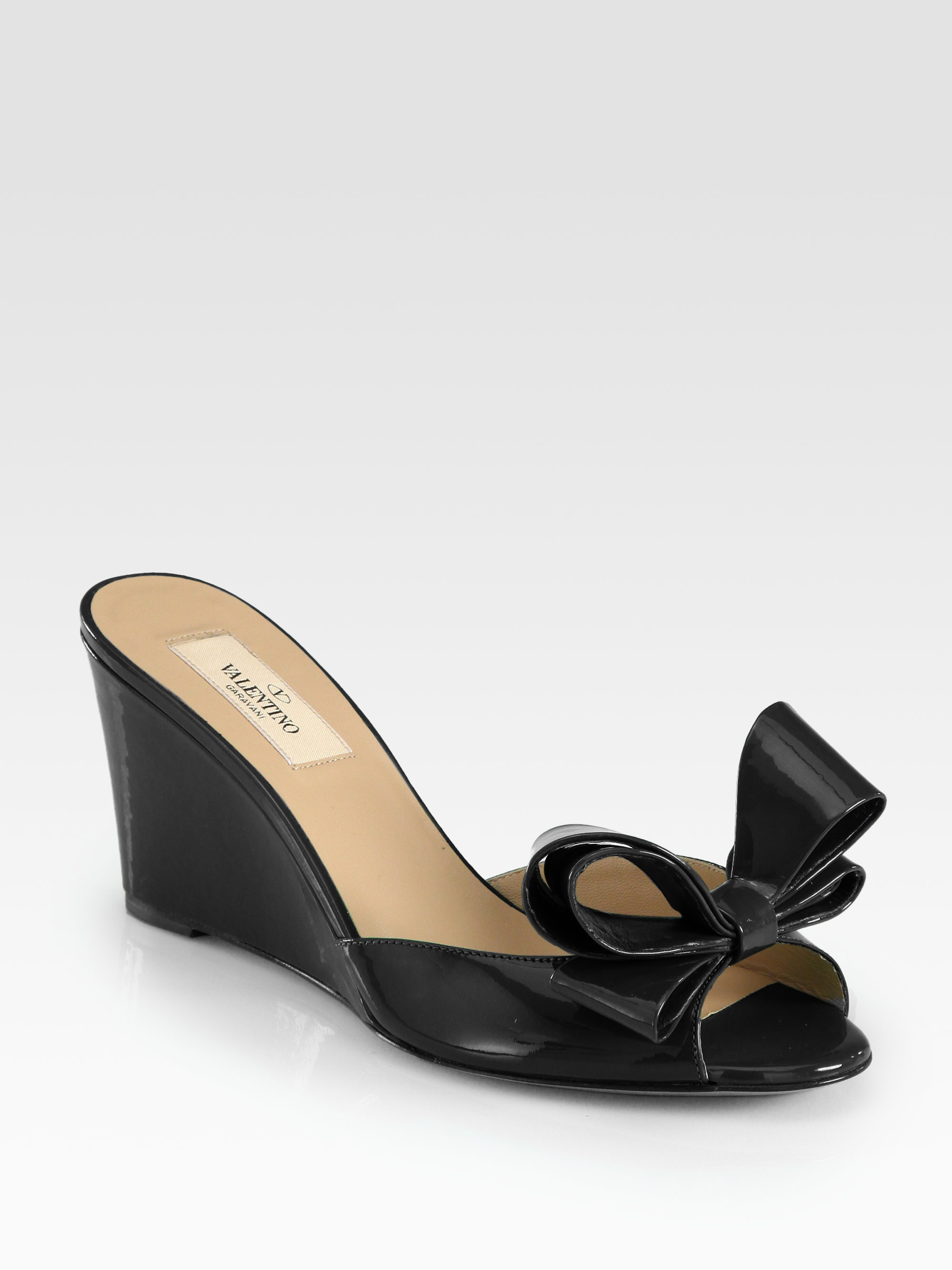 44c7aa3aab0 Lyst - Valentino Couture Patent Leather Bow Wedge Sandals in Black
