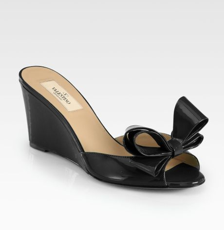 valentino couture patent leather bow wedge sandals in