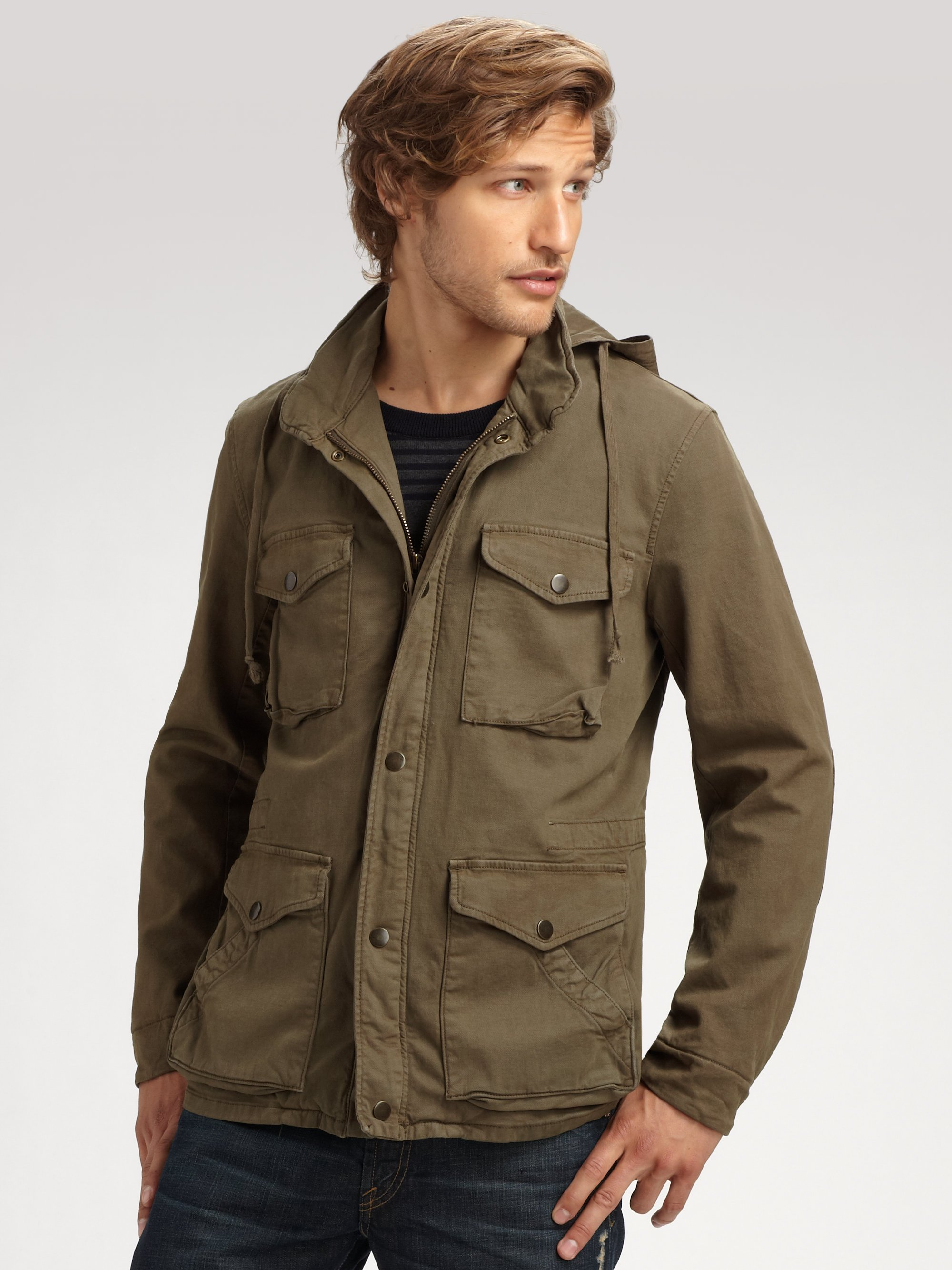Vince Broken Twill Army Coat in Green for Men | Lyst
